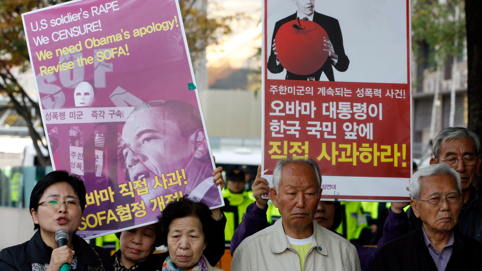 Nov. 1, 2011: South Korean protesters participate in a rally denouncing the crime of U.S. soldiers near the U.S. Embassy in Seoul, South Korea.