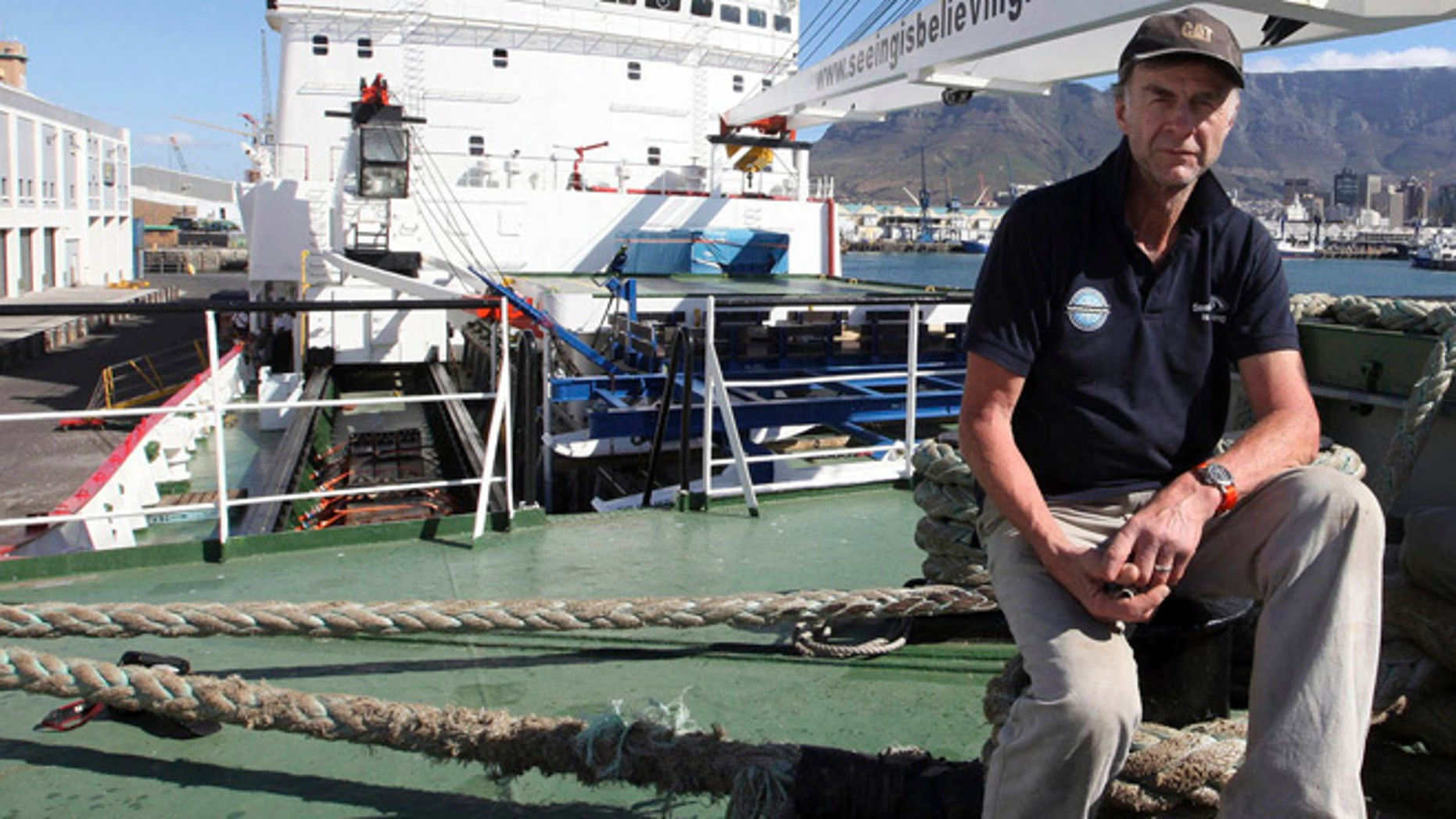 Jan. 3, 2013: British explorer Ranulph Fiennes on board the polar vessel S.A. Agulhas in Cape Town, South Africa.