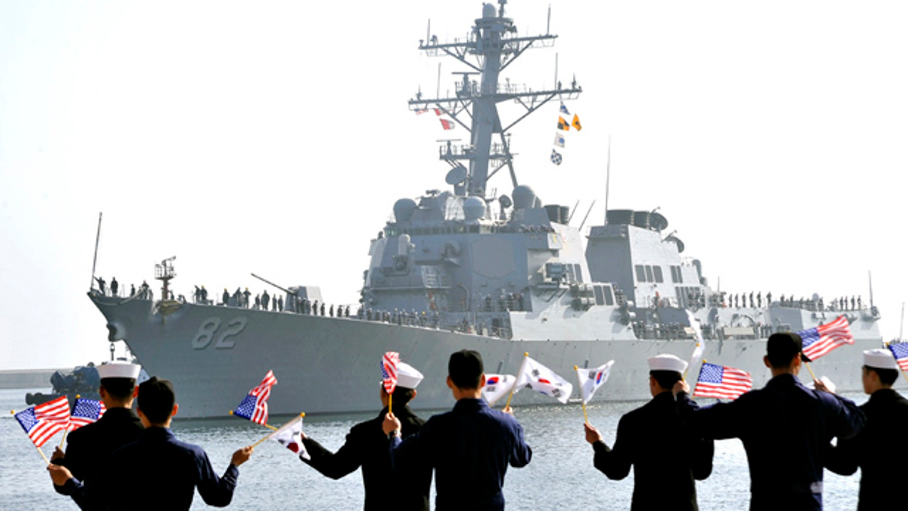 March 9, 2013: The guided-missile destroyers USS Lassen (DDG 82), arrives to participate in the annual joint military exercises, dubbed Key Resolve, between the South Korean and United States.