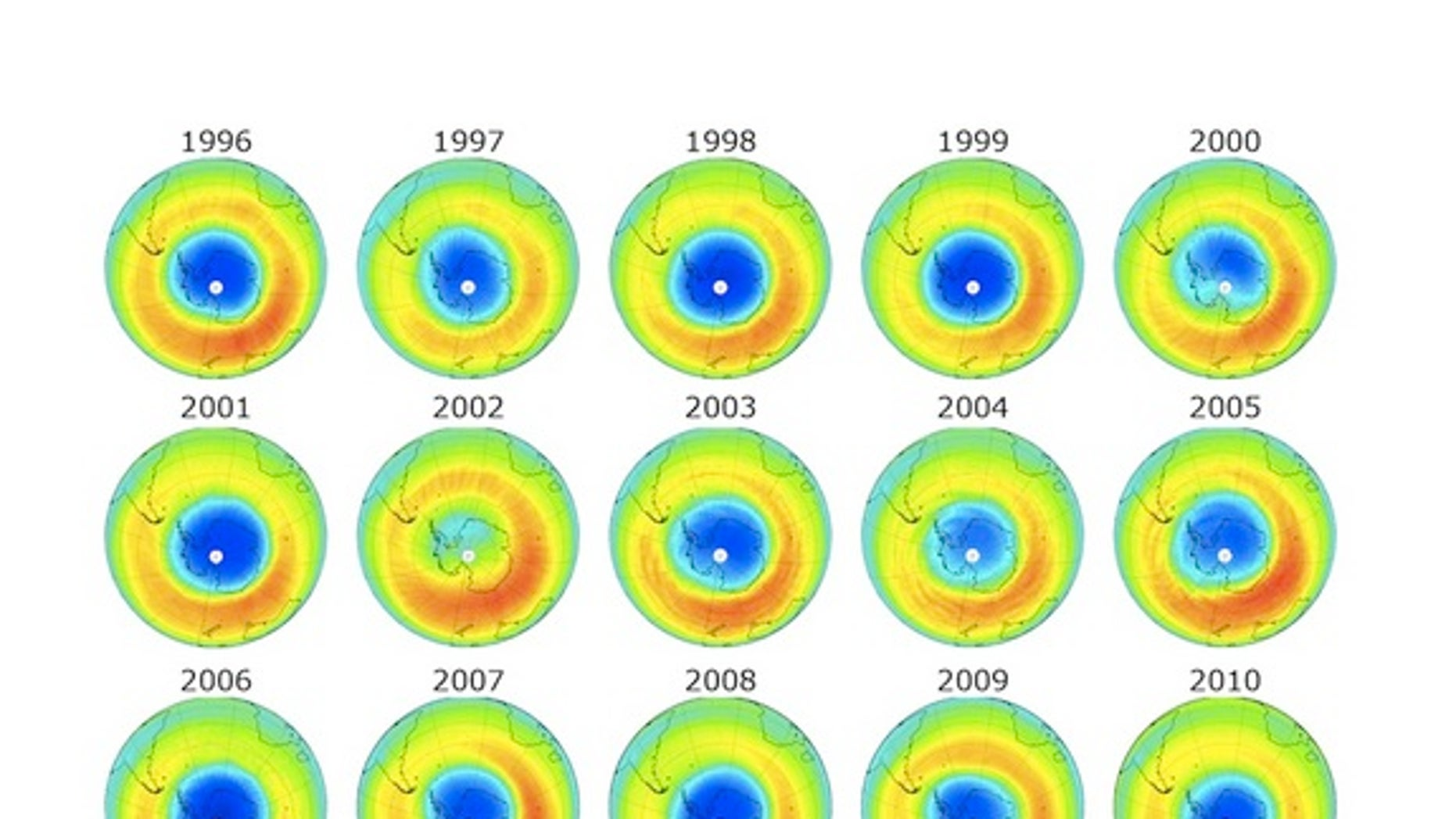 This graphic shows the ozone hole over Antarctica in blue. The depletion in 2012 was smaller than any time in the past 10 years.