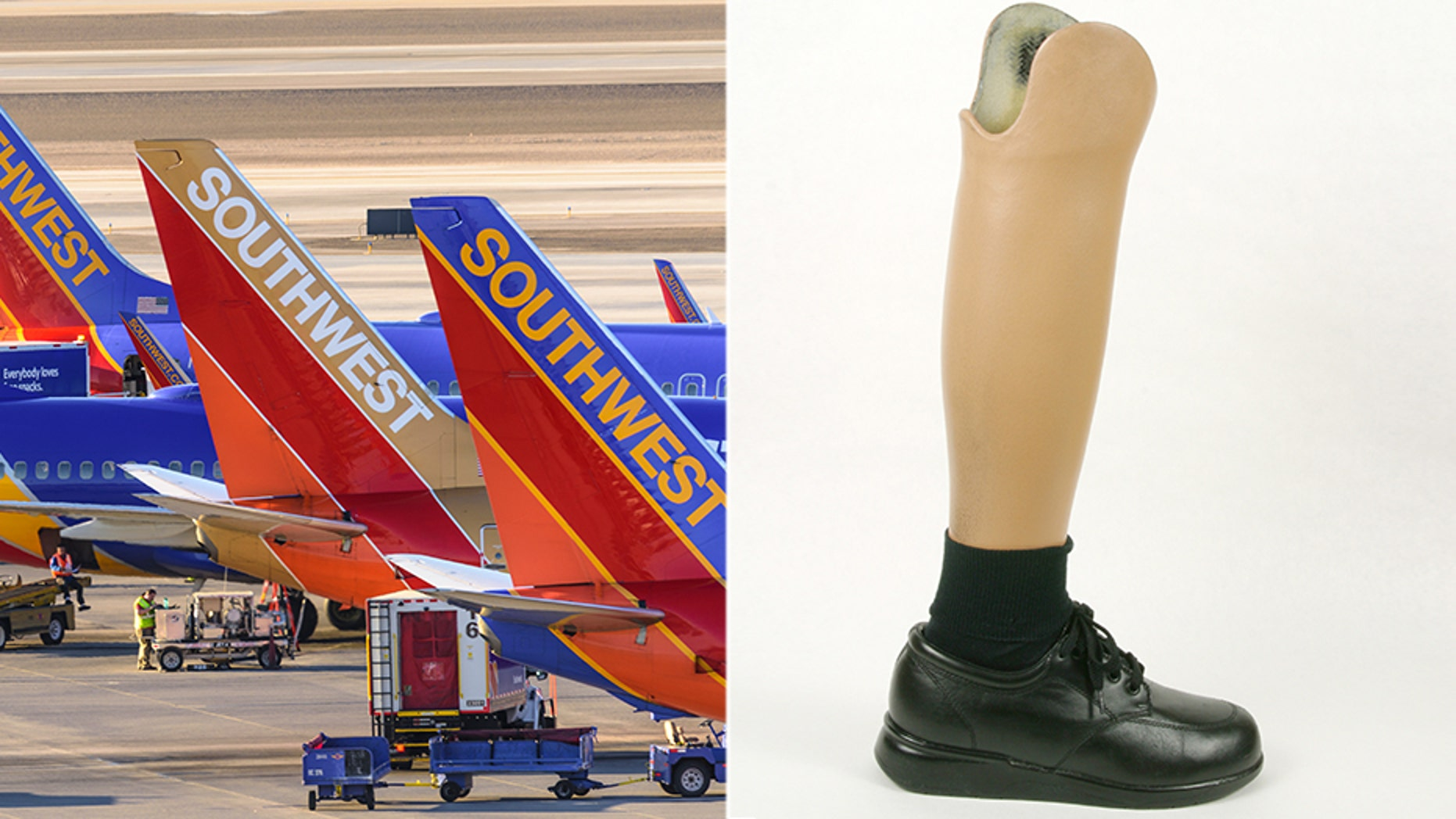 A Florida woman is claiming Southwest Airlines lost her checked bag, which contained her mother's new prosthetic foot (not pictured).