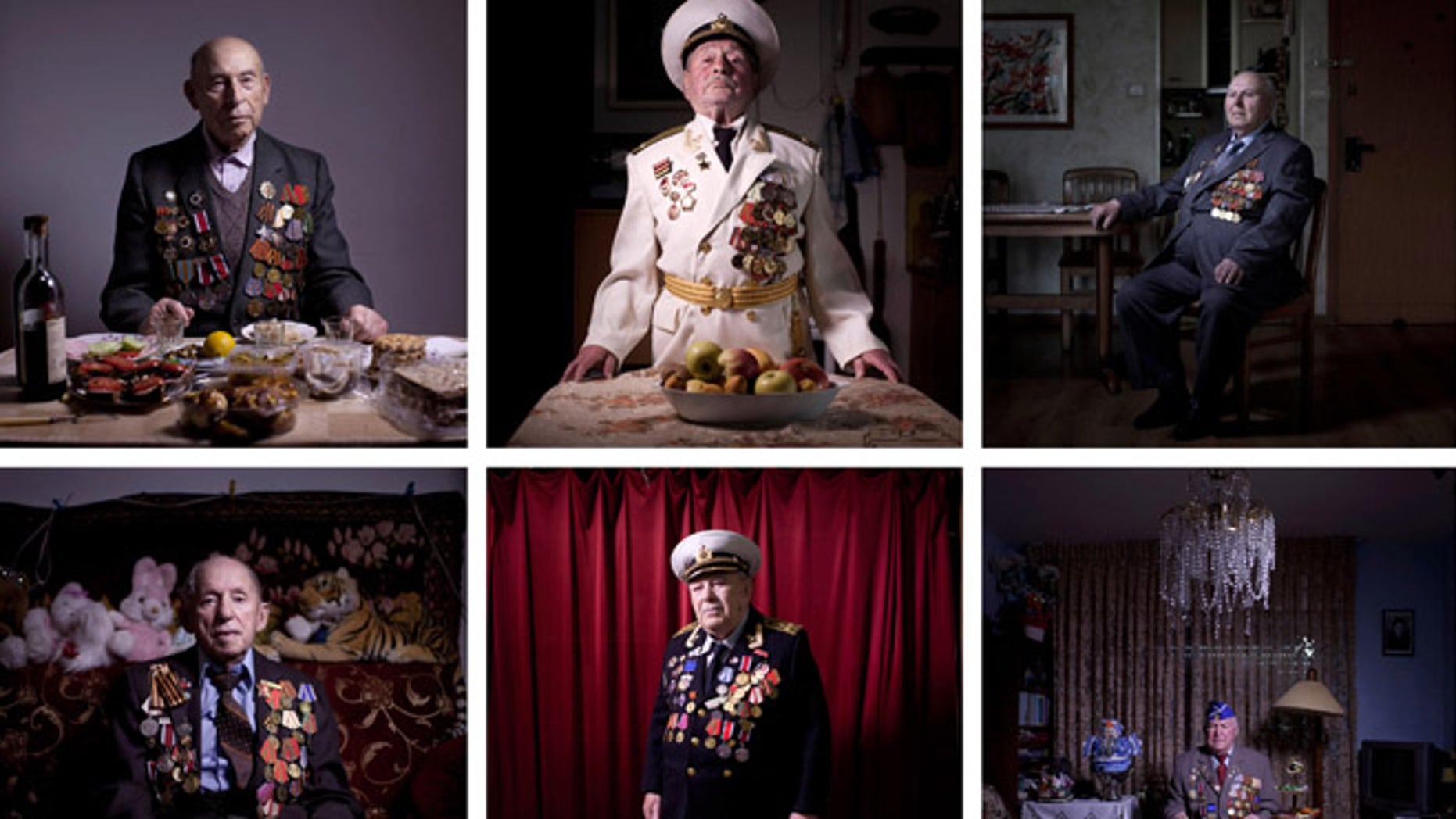 This combination of twelve photos taken on April 10, April 11 , April 12, April 17, April 18, 2013 shows Soviet Jewish World War Two veterans posing for portraits at their homes in Israel. About 500,000 Soviet Jews served in the Red Army during World War Two, and the majority of those still alive today live in Israel. Every year on Victory Day, which falls this Thursday, they parade in uniform throughout Israel to celebrate Nazi Germany's surrender to the Soviet Union.