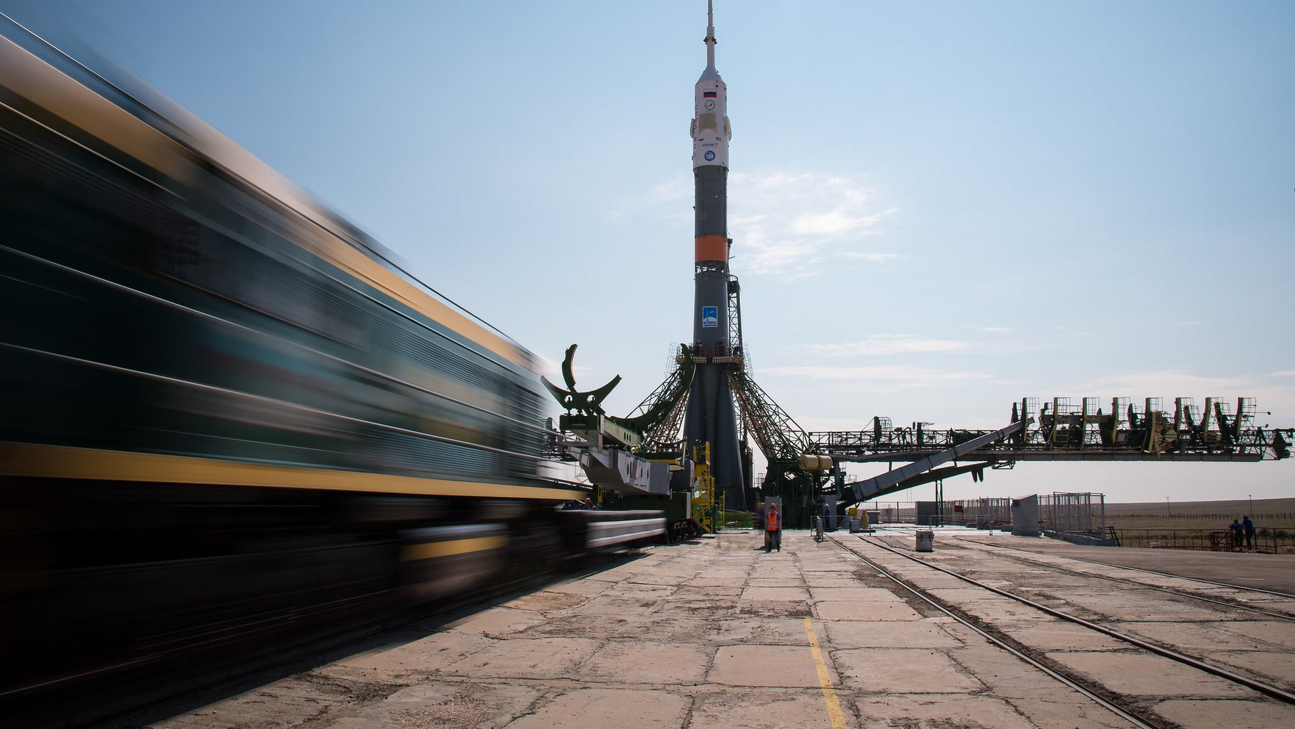 The Soyuz MS-01 spacecraft on the launchpad at the Baikonur Cosmodrome in Kazakhstan on Monday, July 4, 2016. Three crewmembers will make a two-day trip to the International Space Station in the upgraded vehicle.