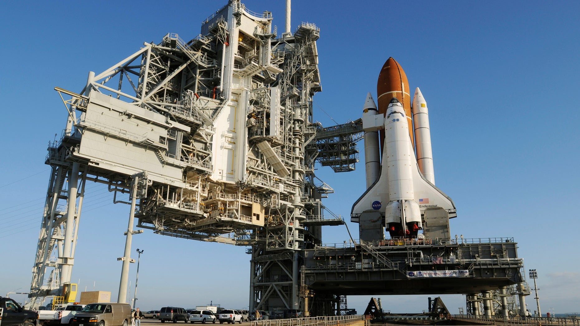 The space shuttle Endeavour sits on launch pad 39A on Friday, March 11, 2011. Endeavor is preparing for Mission STS-134 at the Kennedy Space Center which is scheduled for April 19, 2011. (AP Photo/Florida Today, Michael R. Brown) MAGS OUT