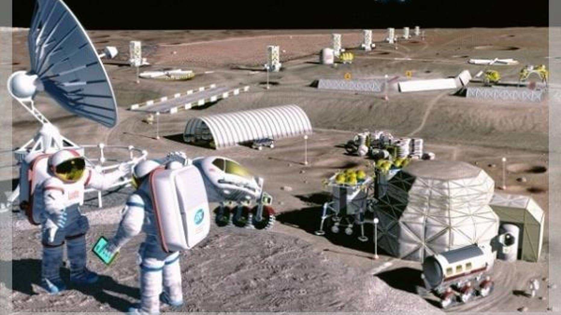 An artist's illustration of what a lunar base might look like.