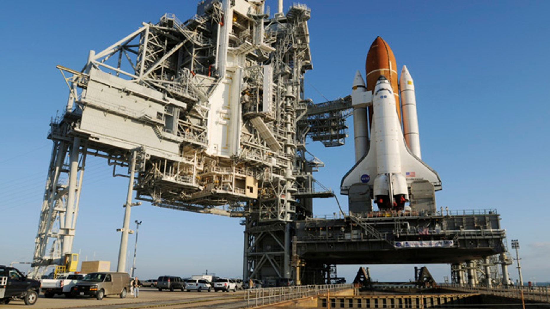 March 11, 2011: Space shuttle Endeavour sits on launch pad 39A. Endeavor is preparing for Mission STS-134 at the Kennedy Space Center which is scheduled for April 19, 2011.