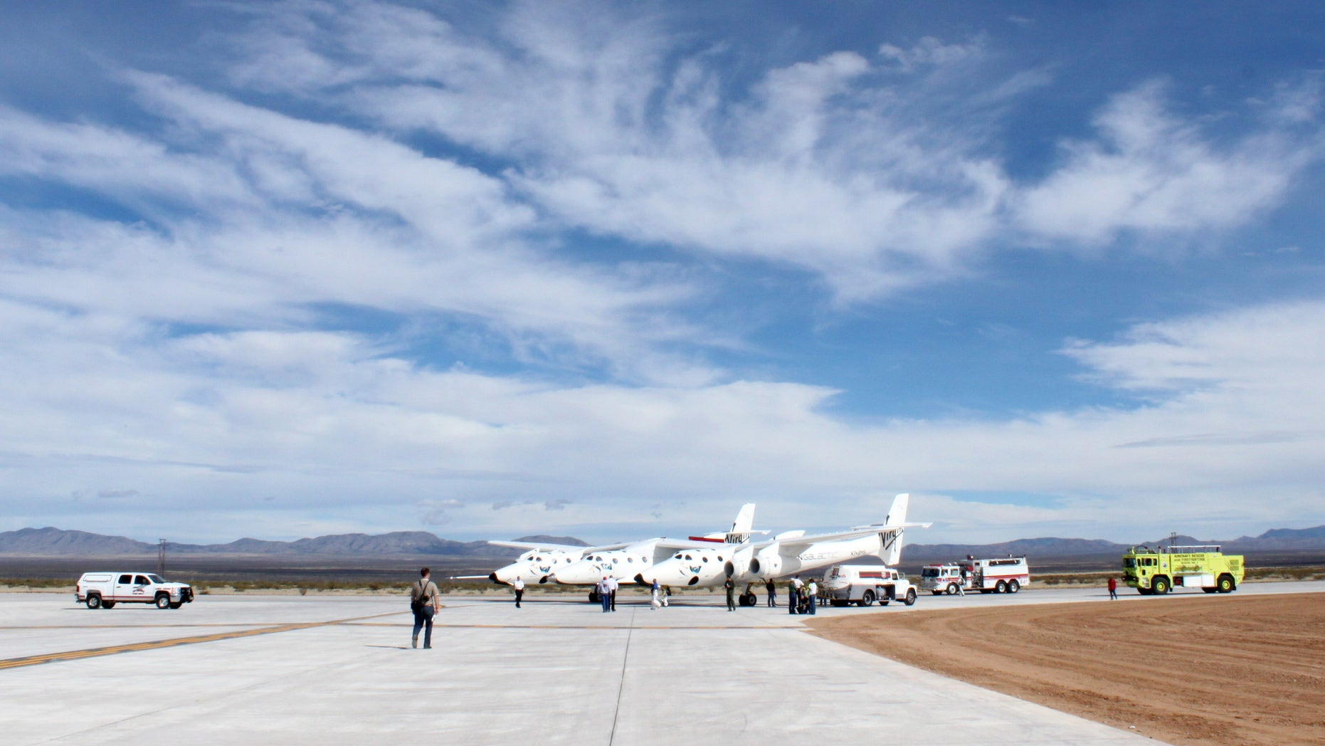 Oct. 22, 2010: Virgin Galactic's White Knight Two mothership on the runway at Spaceport America in Upham, N.M.