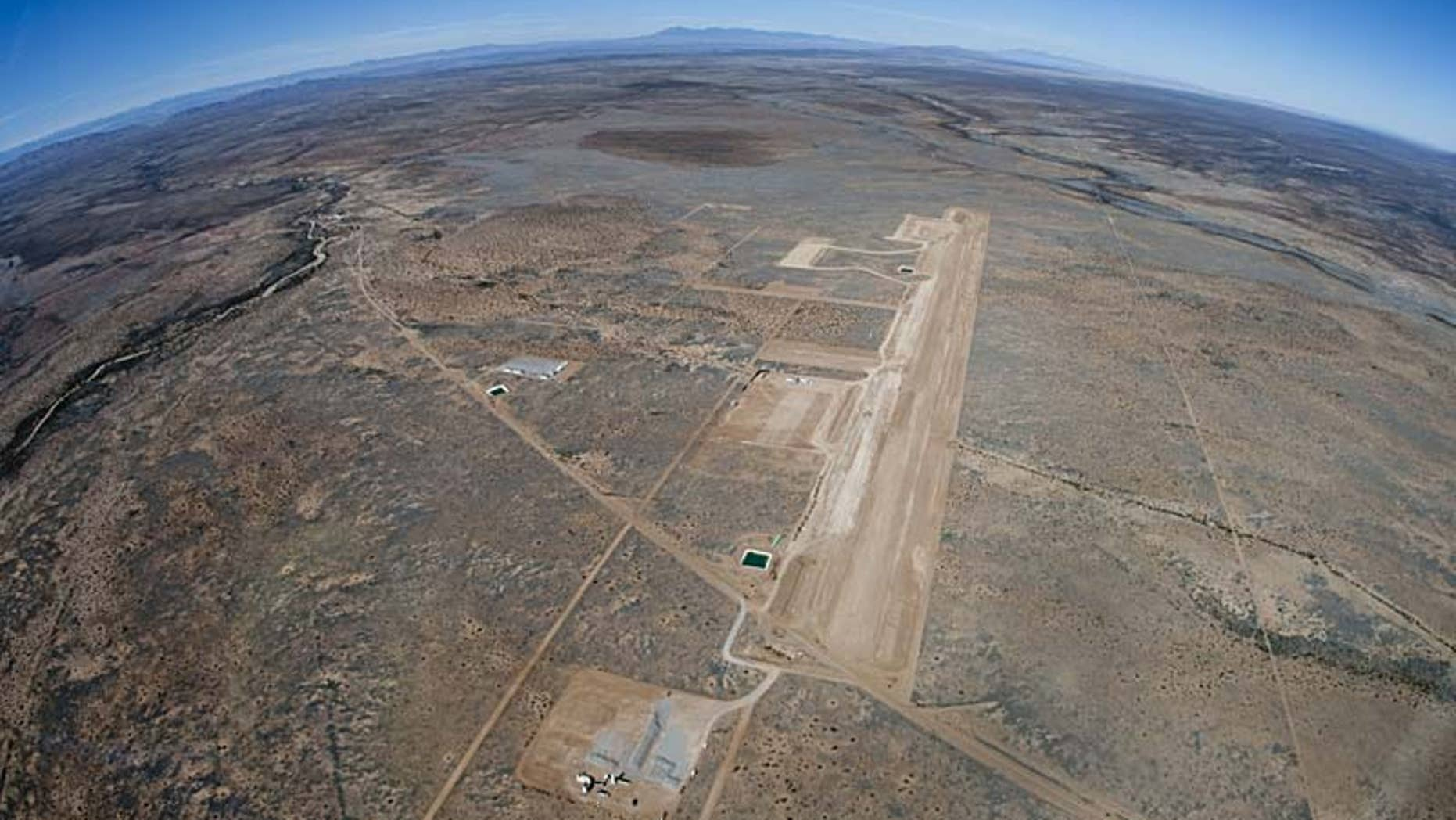 A flyover of New Mexico's Spaceport America with runway construction underway.
