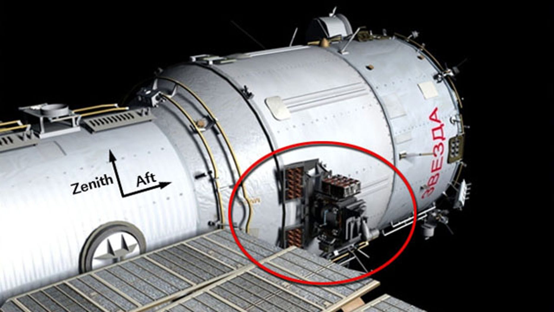 The location of the Expose-R and IPI-SM worksite outside the International Space Station, where two Russian cosmonauts will install a new high-speed data transmission system, remove an old plasma pulse experiment, install a camera for the new Rassvet docking module and retrieve a materials exposure package.