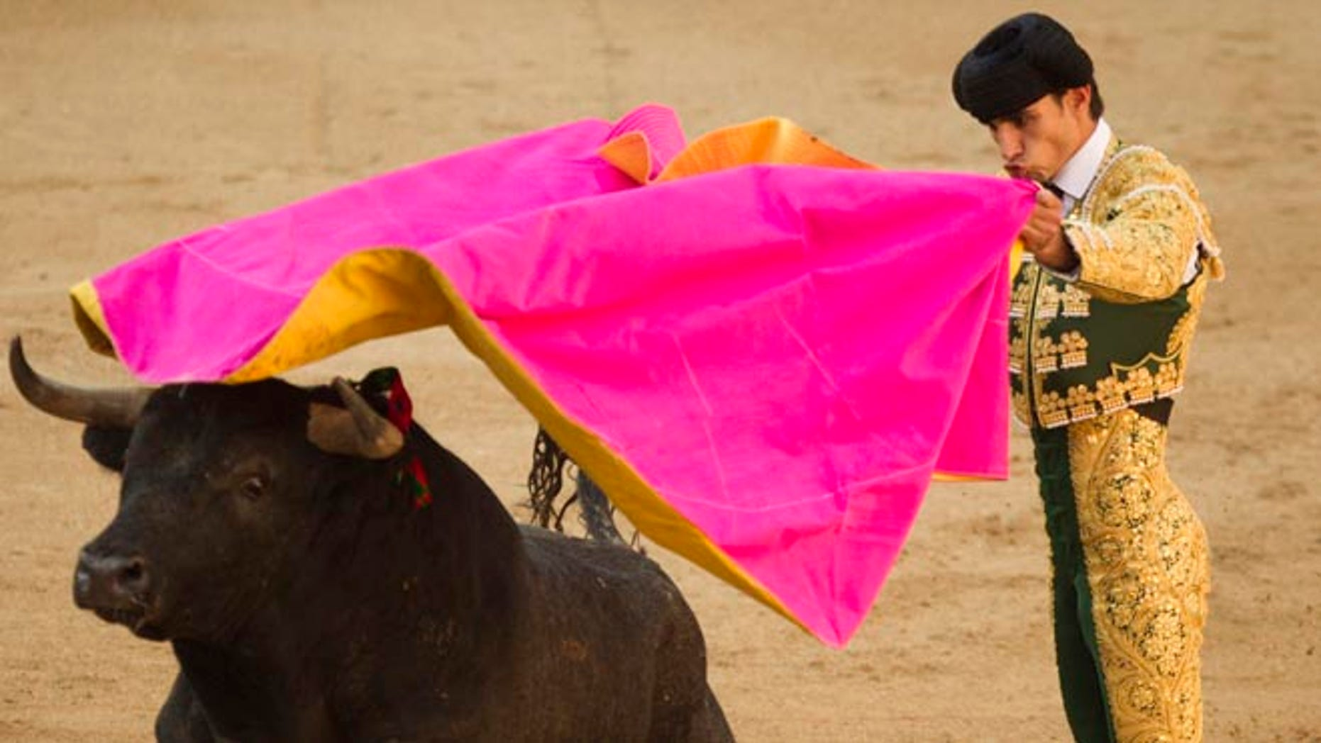 FILE - In this May 16, 2011 file photo, Spanish bullfighter Victor Barrio performs during a bullfight of the San Isidro's fair at the Las Ventas Bullring in Madrid.  The matador has been fatally gored in Spain during a bullfight in an eastern town ââ¬â the first professional bullfighter to be killed in the ring in more than three decades.  The 29-year-old Barrio was pronounced dead late Saturday, July 9, 2016,  by a surgeon at the Teruel bullring. (AP Photo/Daniel Ochoa de Olza, File)