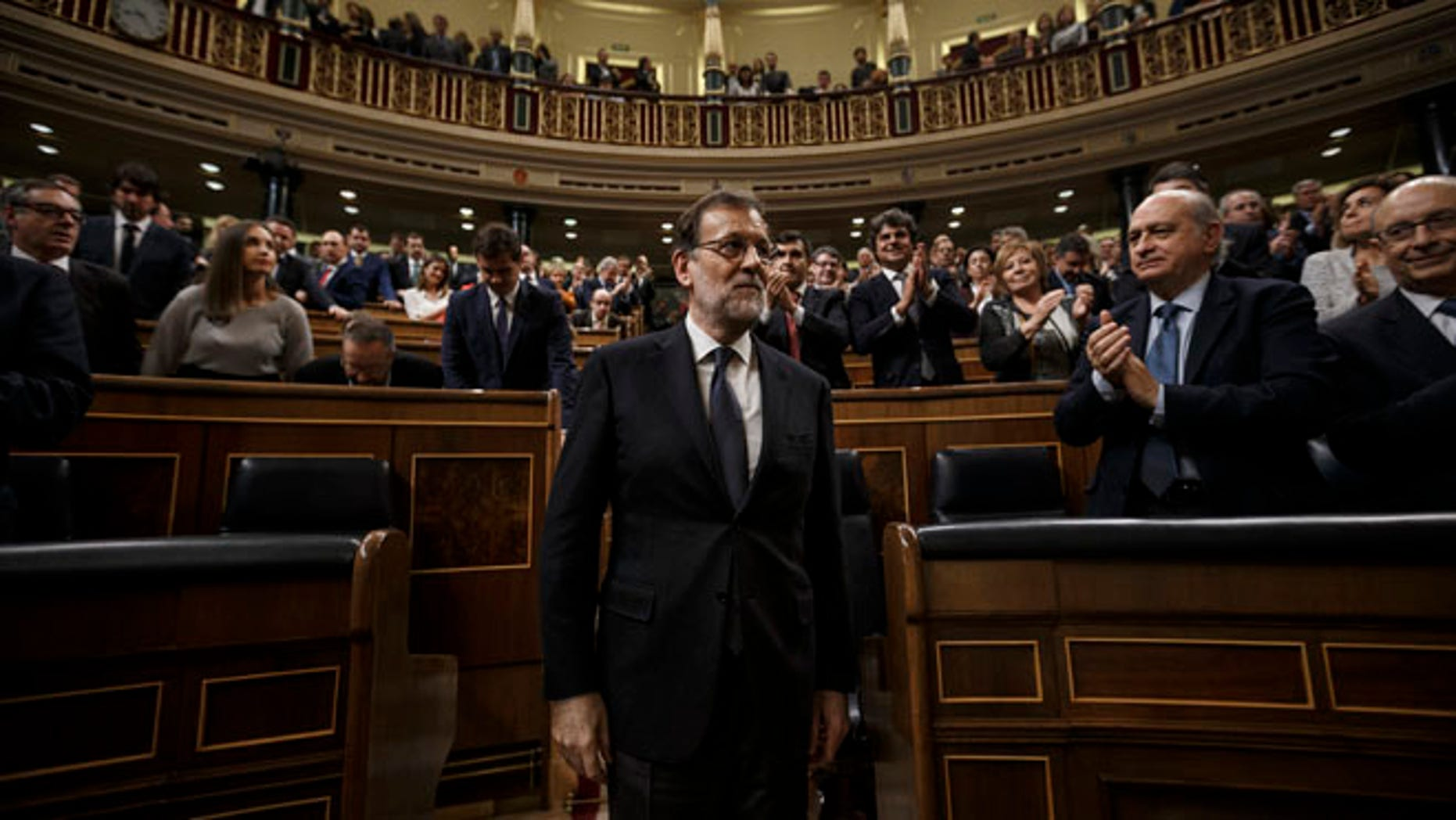 Newly re-elected Spain's Prime Minister Mariano Rajoy on Saturday, Oct. 29, 2016.