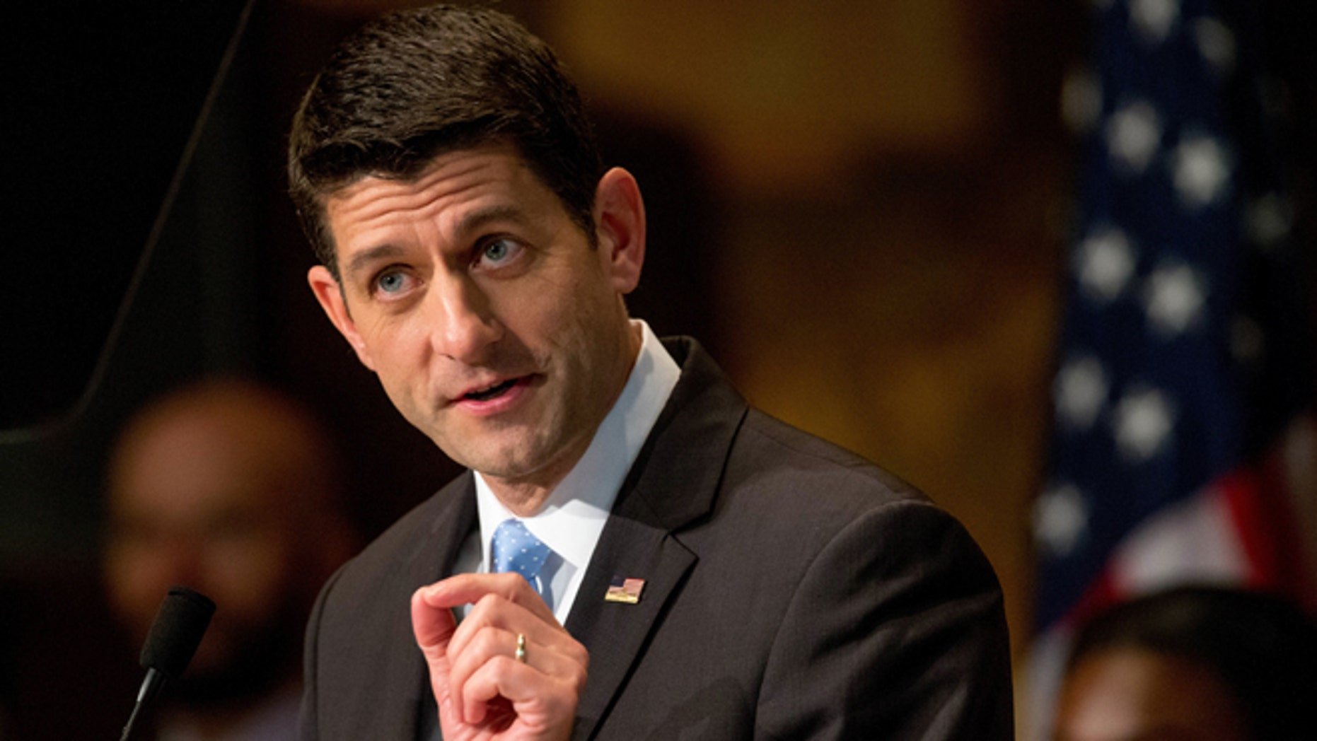 FILE - In this April 27, 2016 file photo,House Speaker Paul Ryan of Wis. speaks in Washington. Paul Ryan is refusing to support Donald Trump as the Republican nominee for president. (AP Photo/Andrew Harnik, File)
