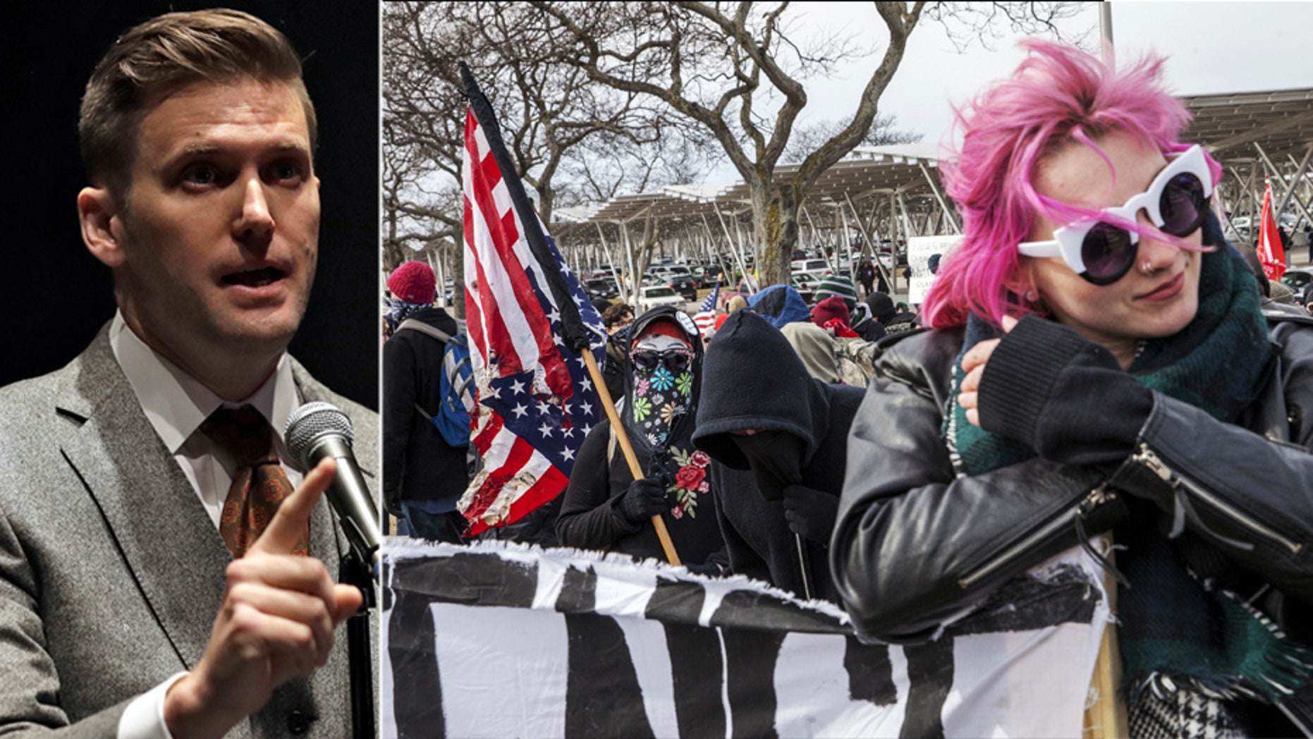 """Activists were reported chanting """"No Nazis, no KKK, no fascist USA"""" as well as """"Punch a Nazi"""" while protesting outside the speech of avowed white nationalist Richard Spencer outside Michigan State University Monday."""