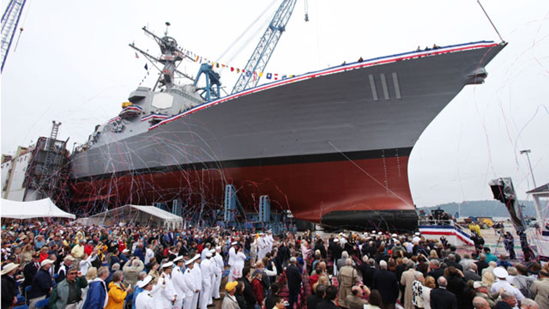 June 5: The Spruance is seen during the christening ceremony at Bath Iron Works in Bath, Maine. (AP)