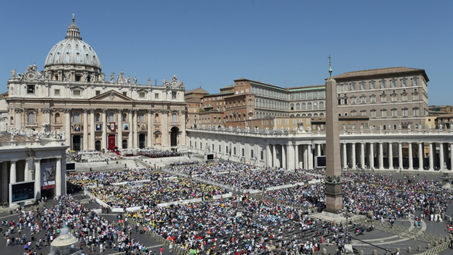 VATICAN CITY, VATICAN - MAY 17:  A view of St. Peter's Square during a canonisation ceremony held by Pope Francis on May 17, 2015 in Vatican City, Vatican. Pope Francis canonized four women religious on Sunday, all 19th century nuns who worked in education. St Marie-Alphonsine and St Mary of Jesus Crucified were from the territory that made up historical Palestine; St Jeanne Emilie de Villeneuve was a French nun and foundress; and St Maria Cristina of the Immaculate Conception.  (Photo by Franco Origlia/Getty Images)