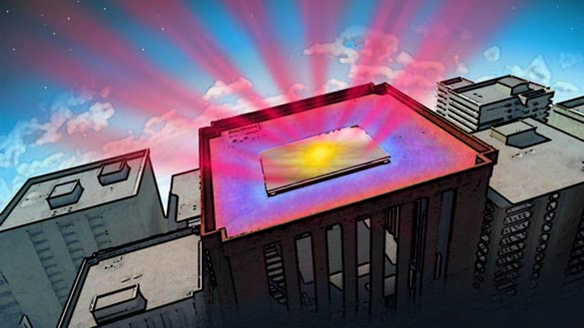 Illustration of the material reflecting incoming sunlight (yellow splotch) and sending heat from inside the structure directly into space as infrared radiation (reddish rays). Blue areas on roof show the cooling effect.