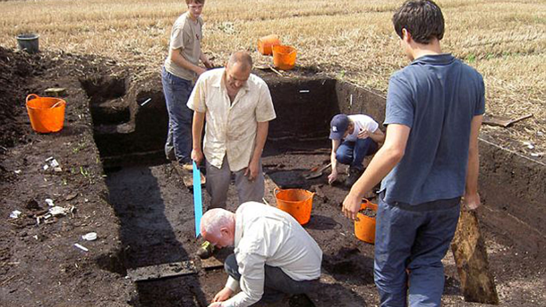 Archaeologists dig at Star Carr, where the oldest building in Britain was recently uncovered.