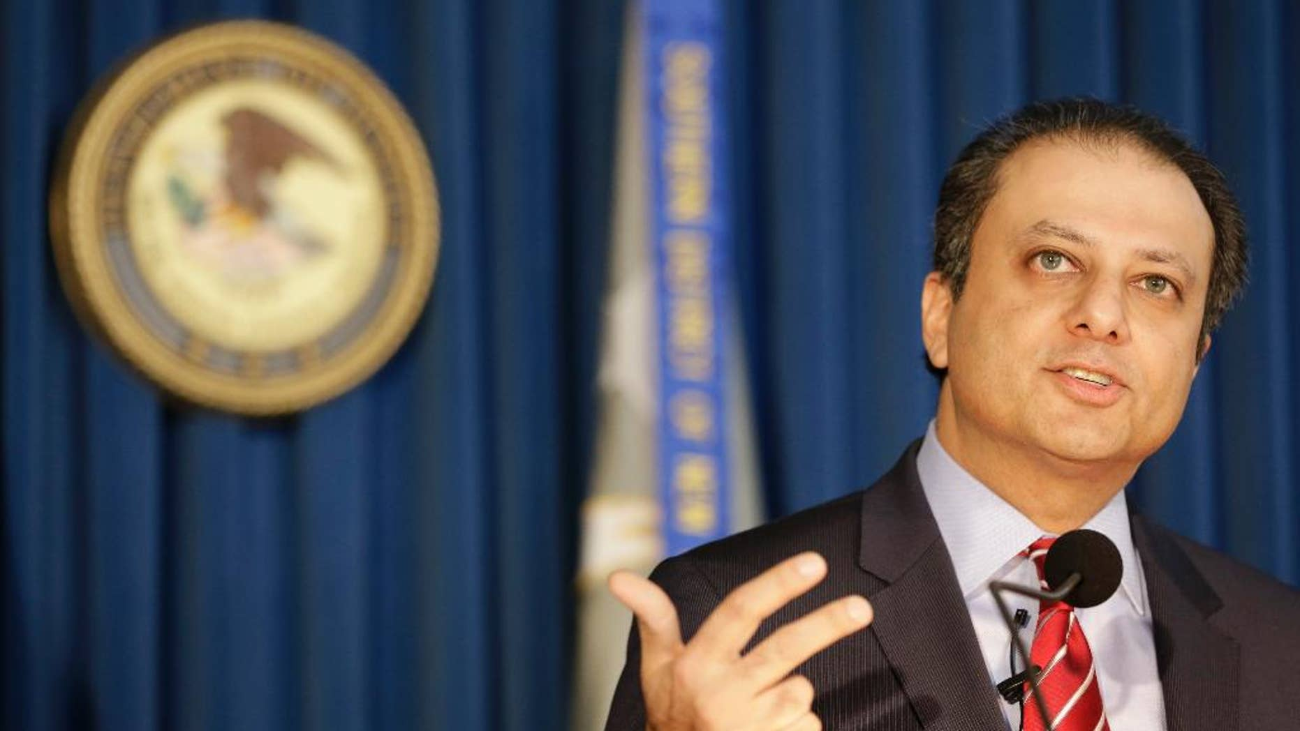 FILE - In this Jan. 22, 2015 file photo, U.S. Attorney Preet Bharara addresses members of the media during a news conference,  in New York.  Bharara and his team in the Manhattan U.S. Attorney's Office have suffered some major setbacks in recent months of a kind not seen since he arrived on the job nearly six years ago. (AP Photo/Mary Altaffer, File )