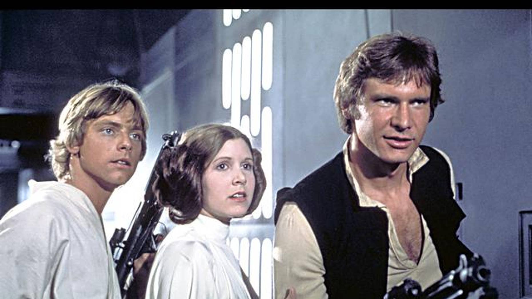 'Star Wars' actors Mark Hamill, Carrie Fisher and Harrison Ford. (AP)