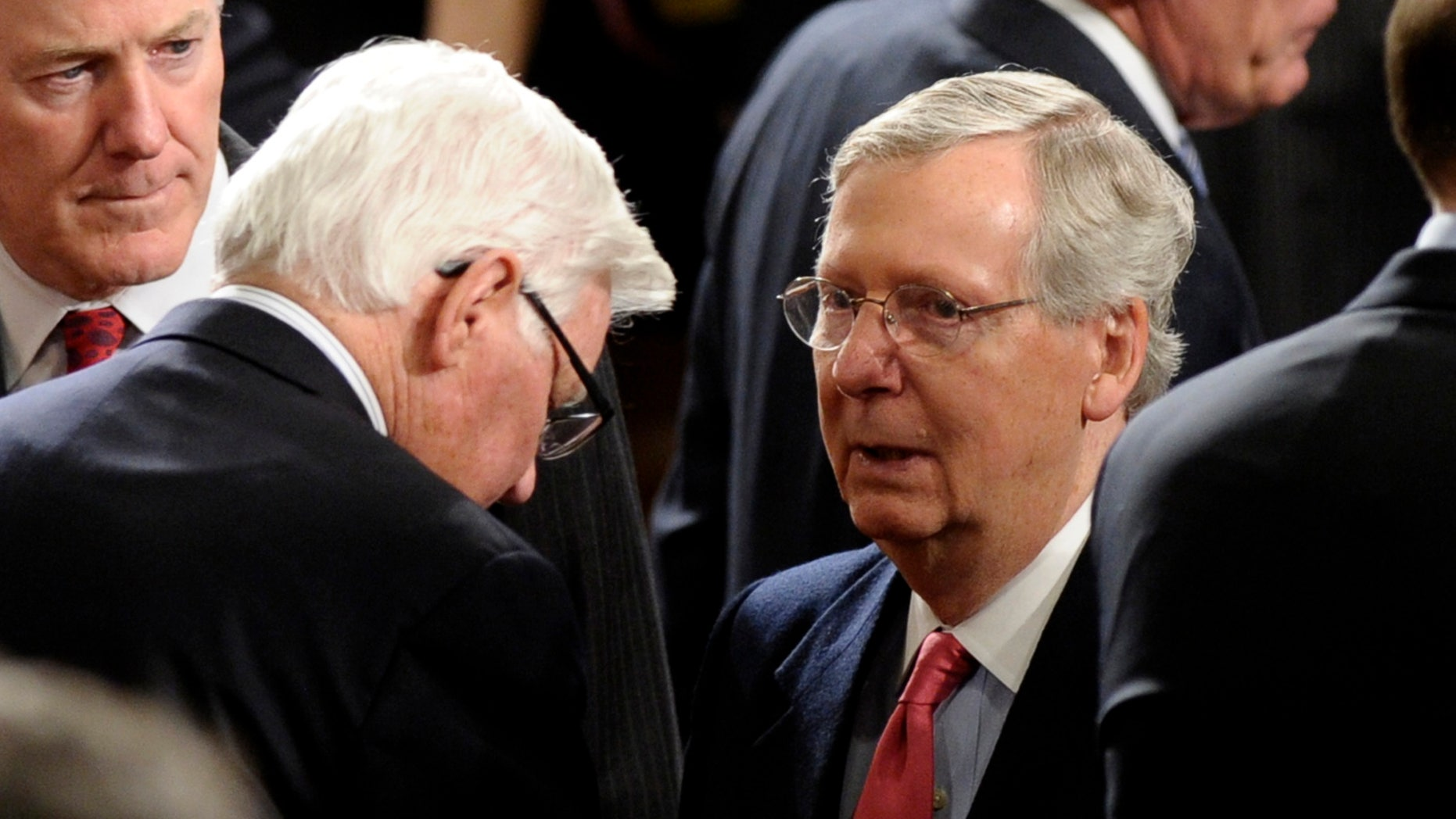 Senate Minority Leader Mitch McConnell of Ky. arrives for President Barack Obama's State of the Union address on Capitol Hill in Washington, Tuesday Jan. 28, 2014. (AP Photo/Susan Walsh)