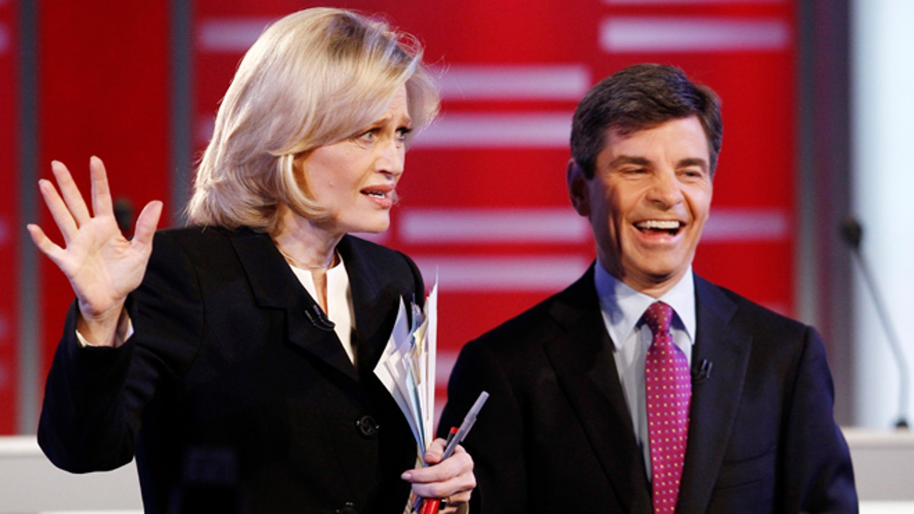 Dec. 10, 2011: Debate moderators Diane Sawyer and George Stephanopoulos speak before the Republican presidential candidates debate at Drake University in Des Moines, Iowa.