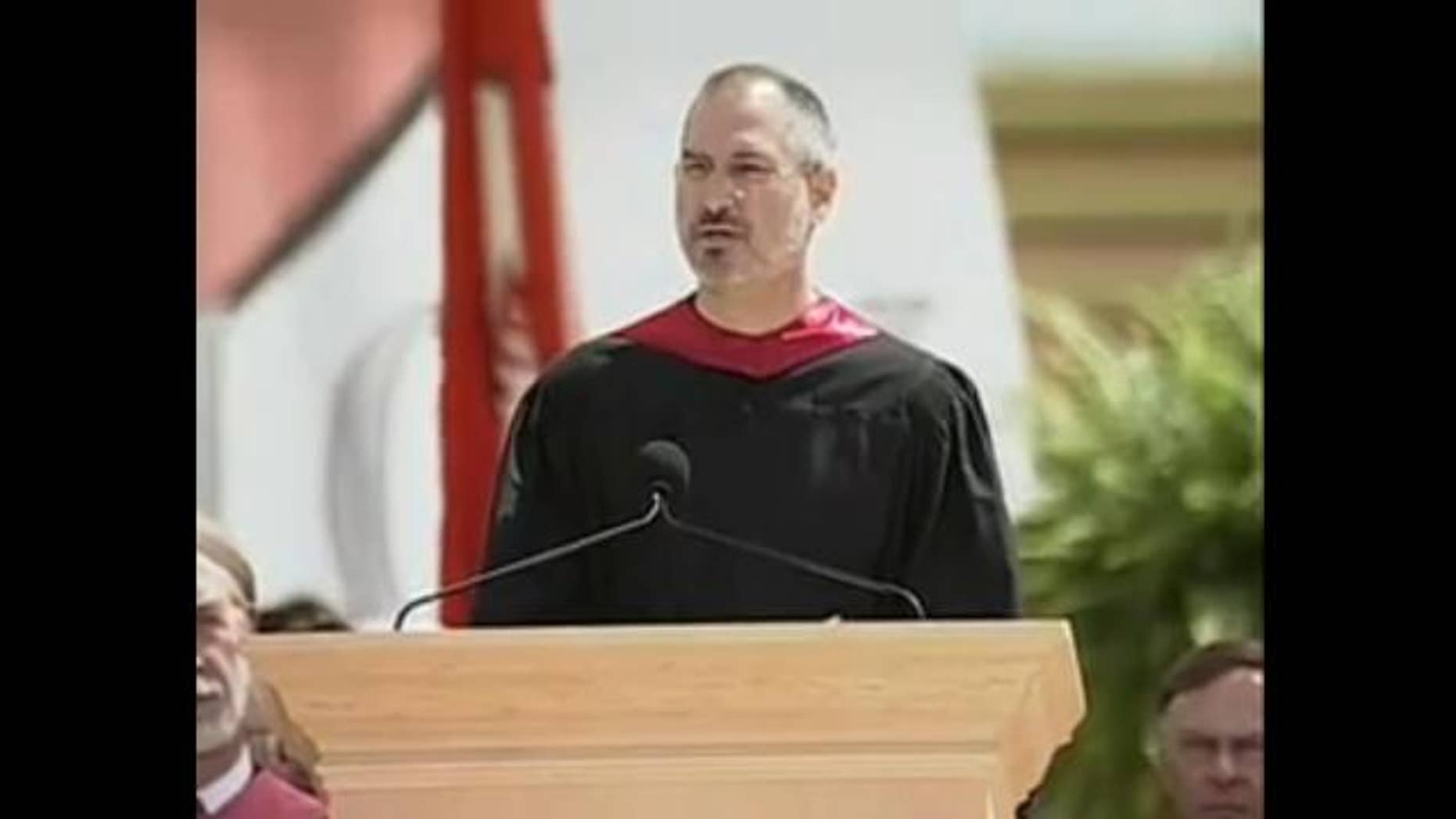 A screenshot from Steve Jobs 2005 Stanford commencement speech, where the Apple co-founder discussed life, work and death.