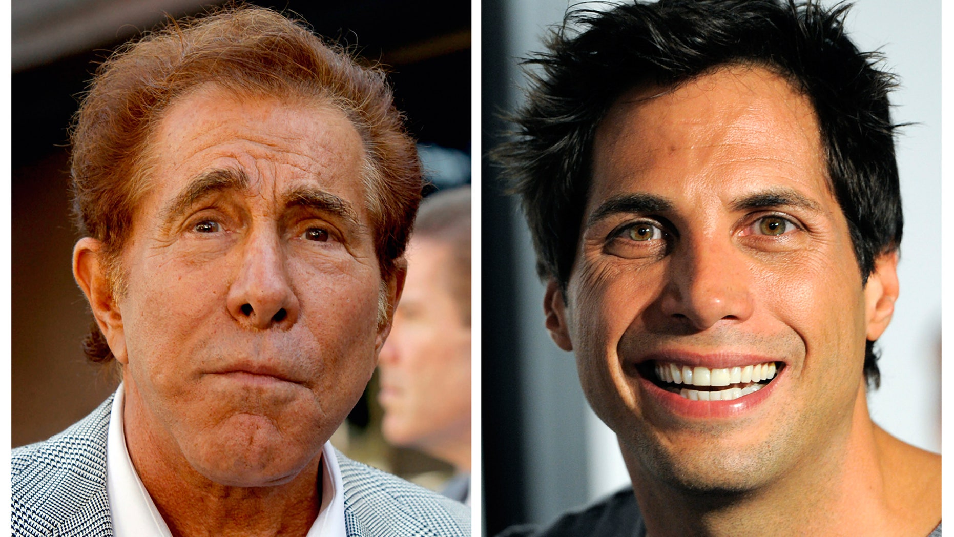 """Sept. 10, 2012: This photo combination of file photos shows casino mogul Steve Wynn, left, in Los Angeles, and """"Girls Gone Wild"""" founder Joe Francis, in Los Angeles."""