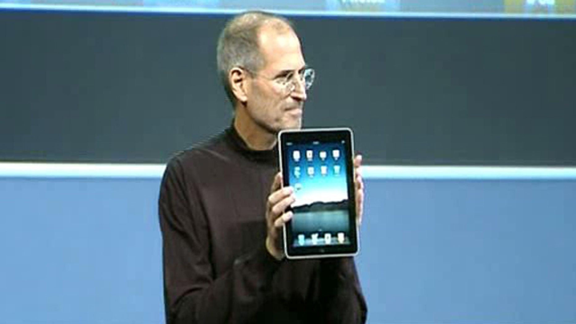 During his keynote speech, Steve Jobs shows off the iPad at its January debut.