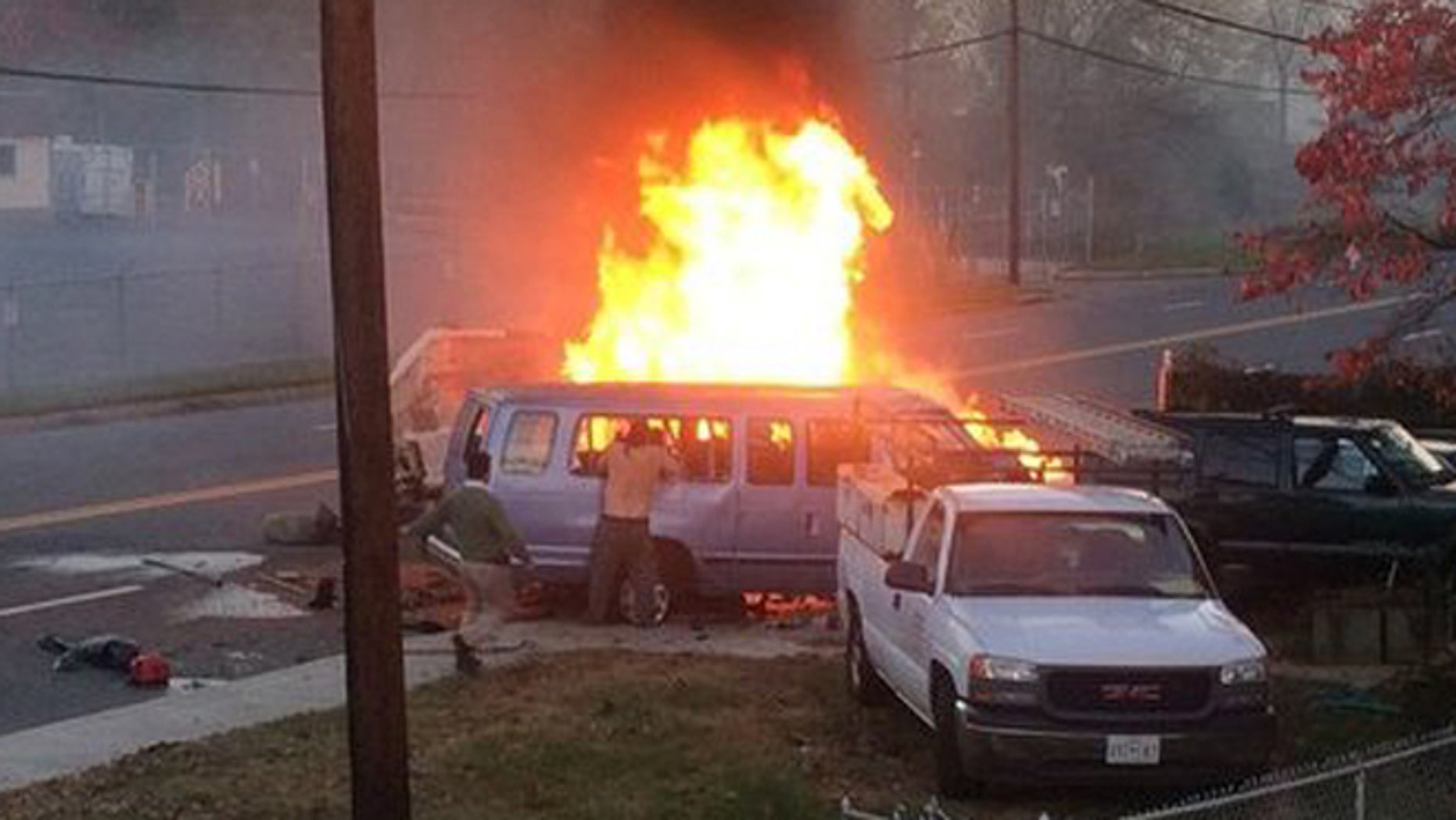 Emergency crews responded to the scene of an accident in Hyattsville, Maryland on Sunday evening.