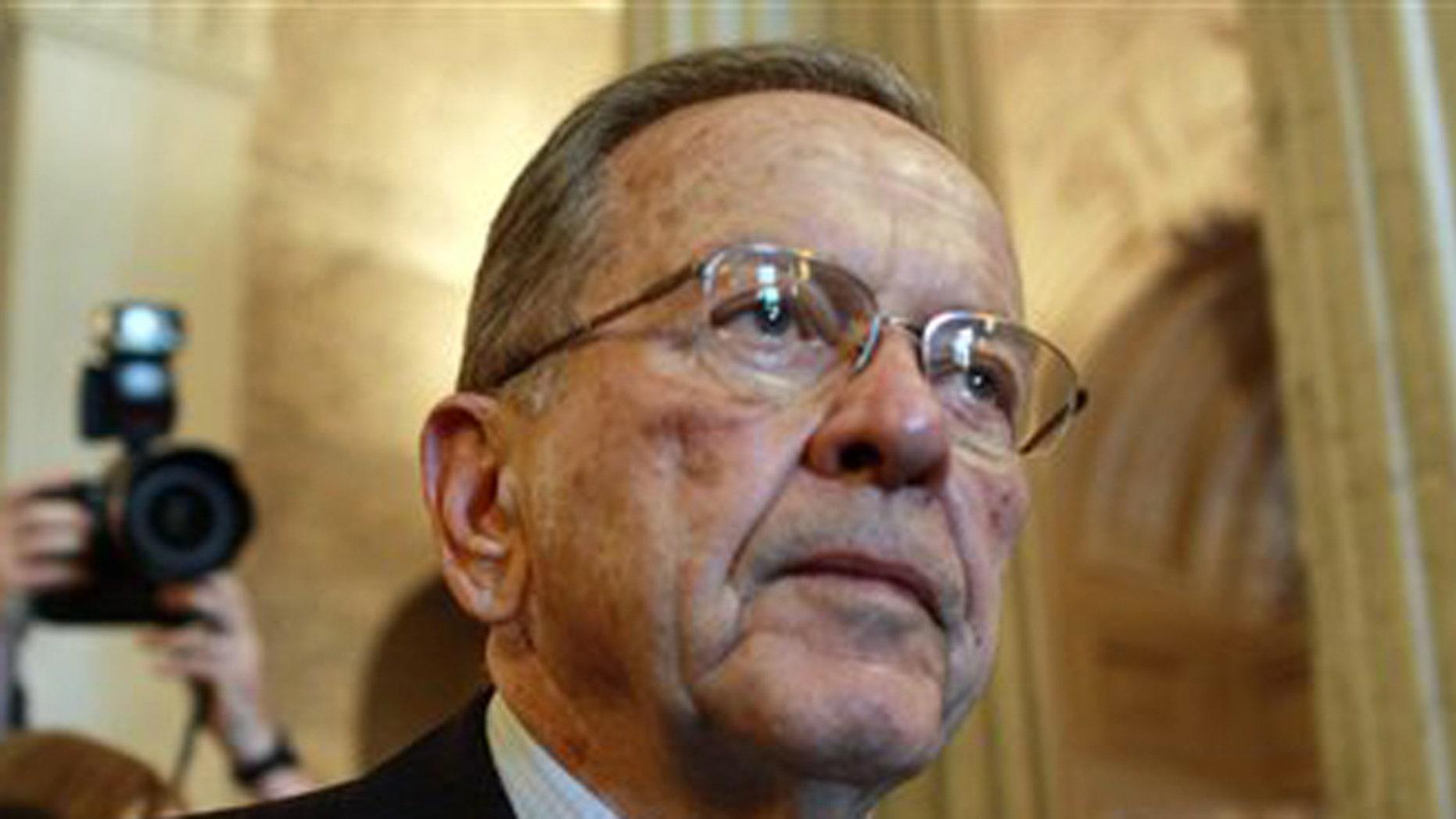 FILE: Nov. 29, 2008. Then-Sen. Ted Stevens, R-Alaska, leaves the Senate chamber after making his last formal speech on the chamber floor.