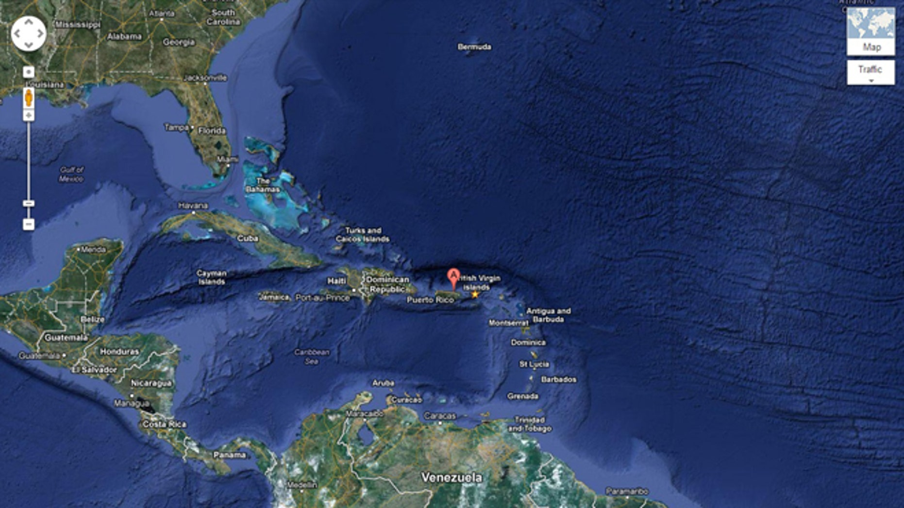 A Google Map locates San Juan, Puerto Rico, where an unusual site has caught the public's eye: a lone male bottlenose dolphin cavorting in the waters.