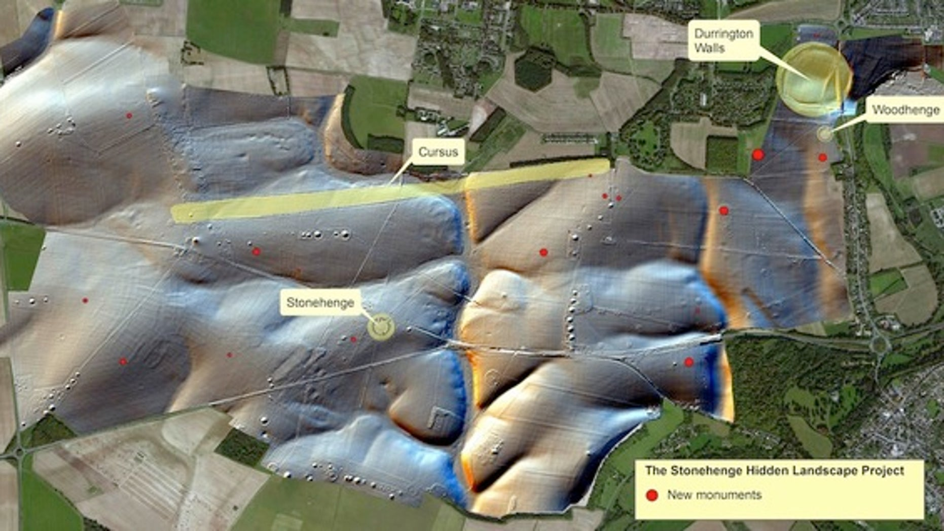 The red circles mark the spots where archaeologists found satellite shrines around Stonehenge.