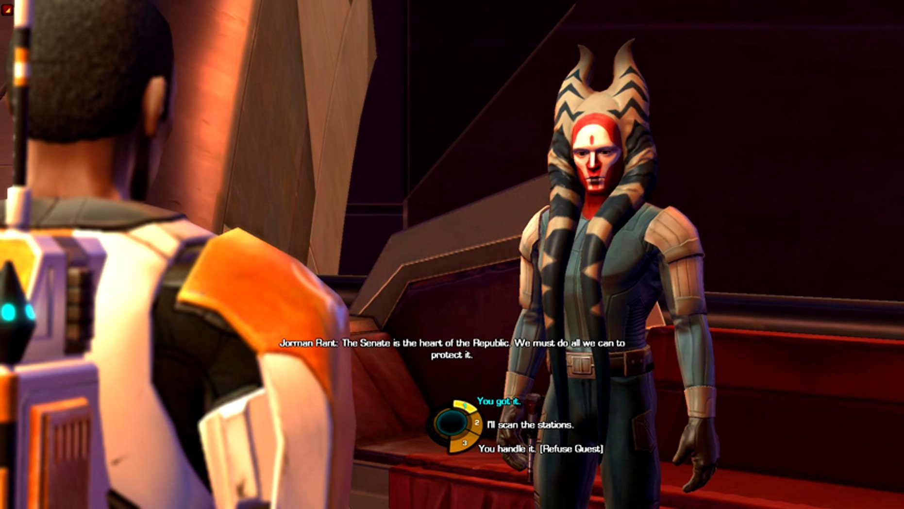 "Game makers are crafting more sophisticated story lines and creating characters that evolve based on their experiences within a game, as in this scene from ""Star Wars: the Old Republic."""