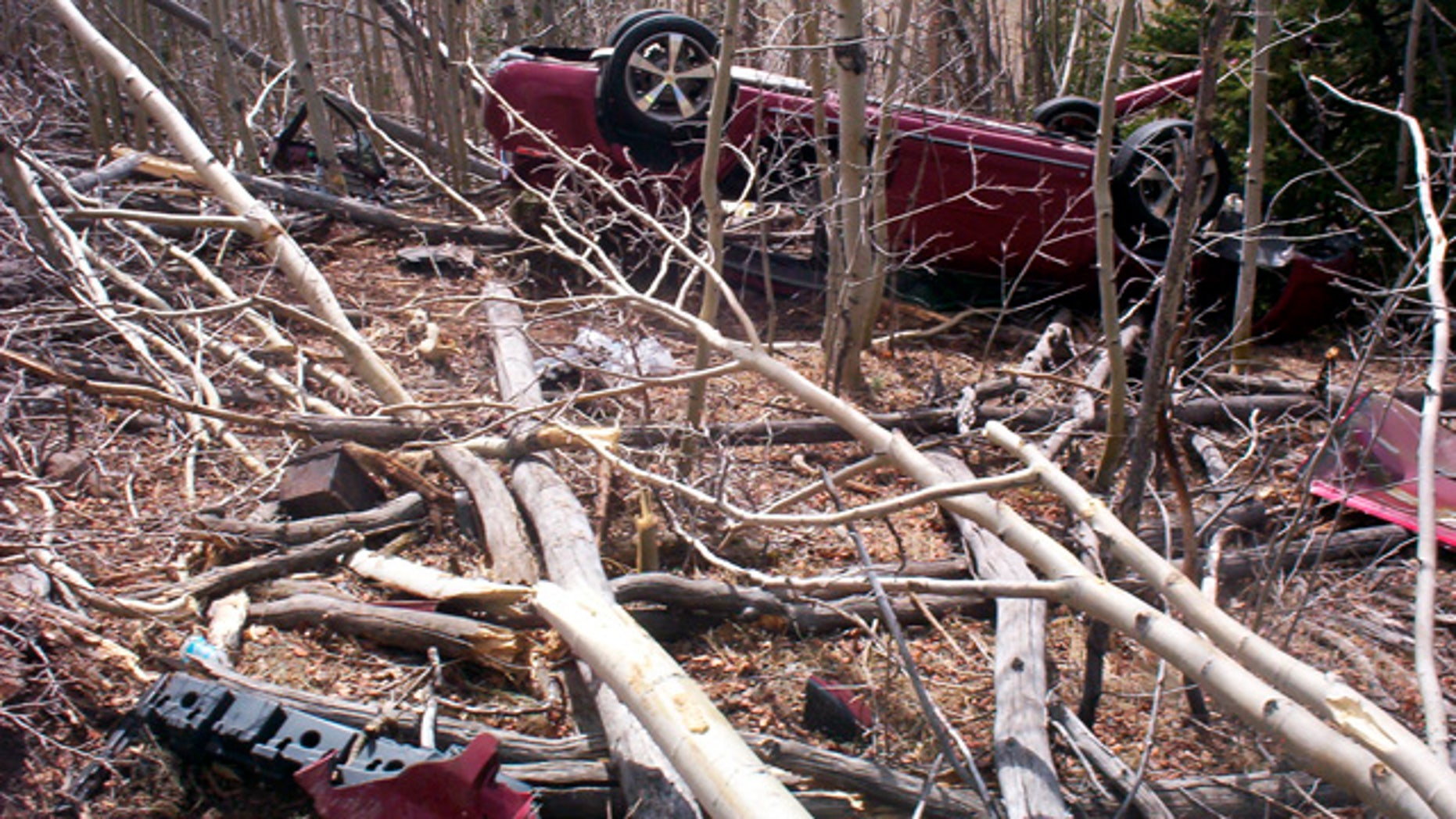 May 4, 2013: In this photo provided by the Park County Sheriffs Office, Kristin Hopkins' car is seen after she drove off the roadway near the old mining town of Fairplay, Colo., sometime after she was last seen on April 27. (AP Photo/Park County Sheriffs Office)