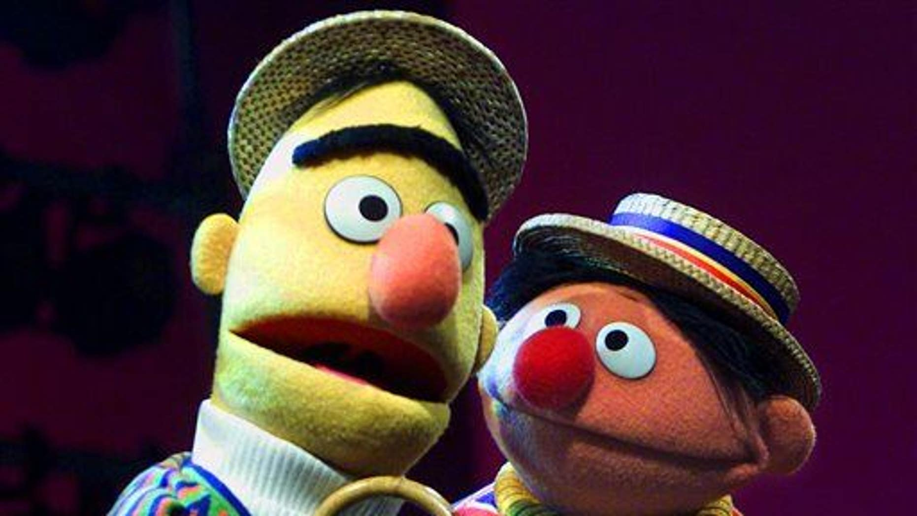"""In this Aug. 22, 2001 file photo, Bert and Ernie, from the children's program """"Sesame Street,"""" are shown in New York."""