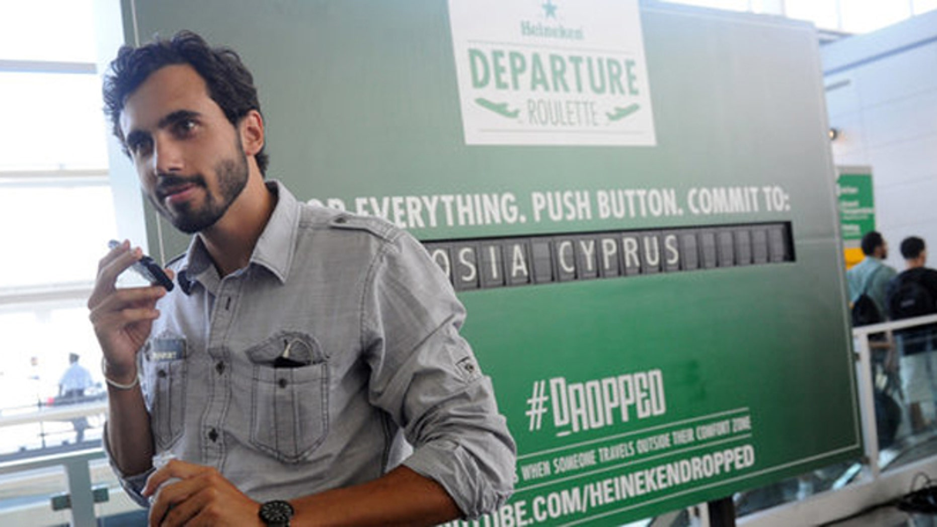 Greg Vosits, a student, delays his trip to visit grandparents in Austria after winning a trip to Cyprus from Heineken.