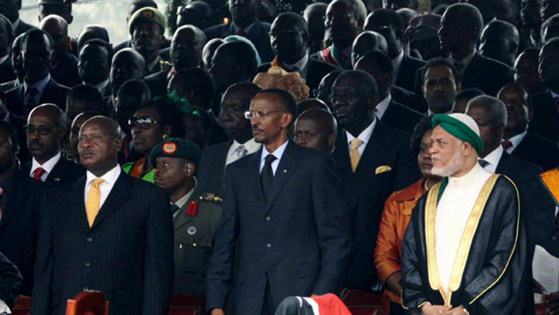 August 27: Ugandan President Yoweri Museveni, Rwandan President Paul Kagame, Comoros President Ahmed Abdallah Mohamed Sambi, and Sudan President Omar Al Bashir, attend the signing into law of the new Kenyan constitution, at Uhuru Park in Nairobi, Kenya. (AP)