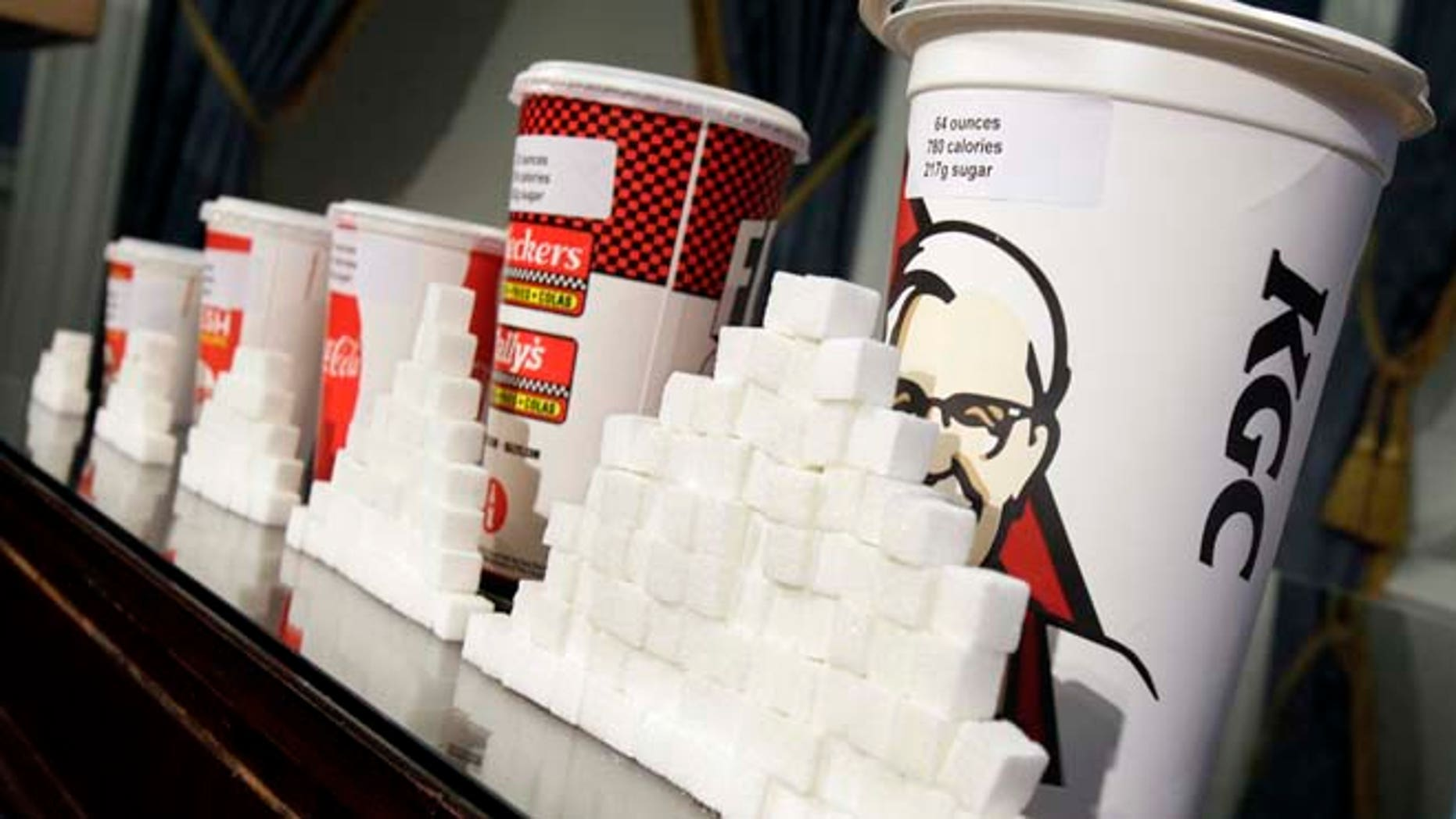 May 31, 2012: This file photo shows a display of various size cups and sugar cubes at a news conference at New York's City Hall. (AP)