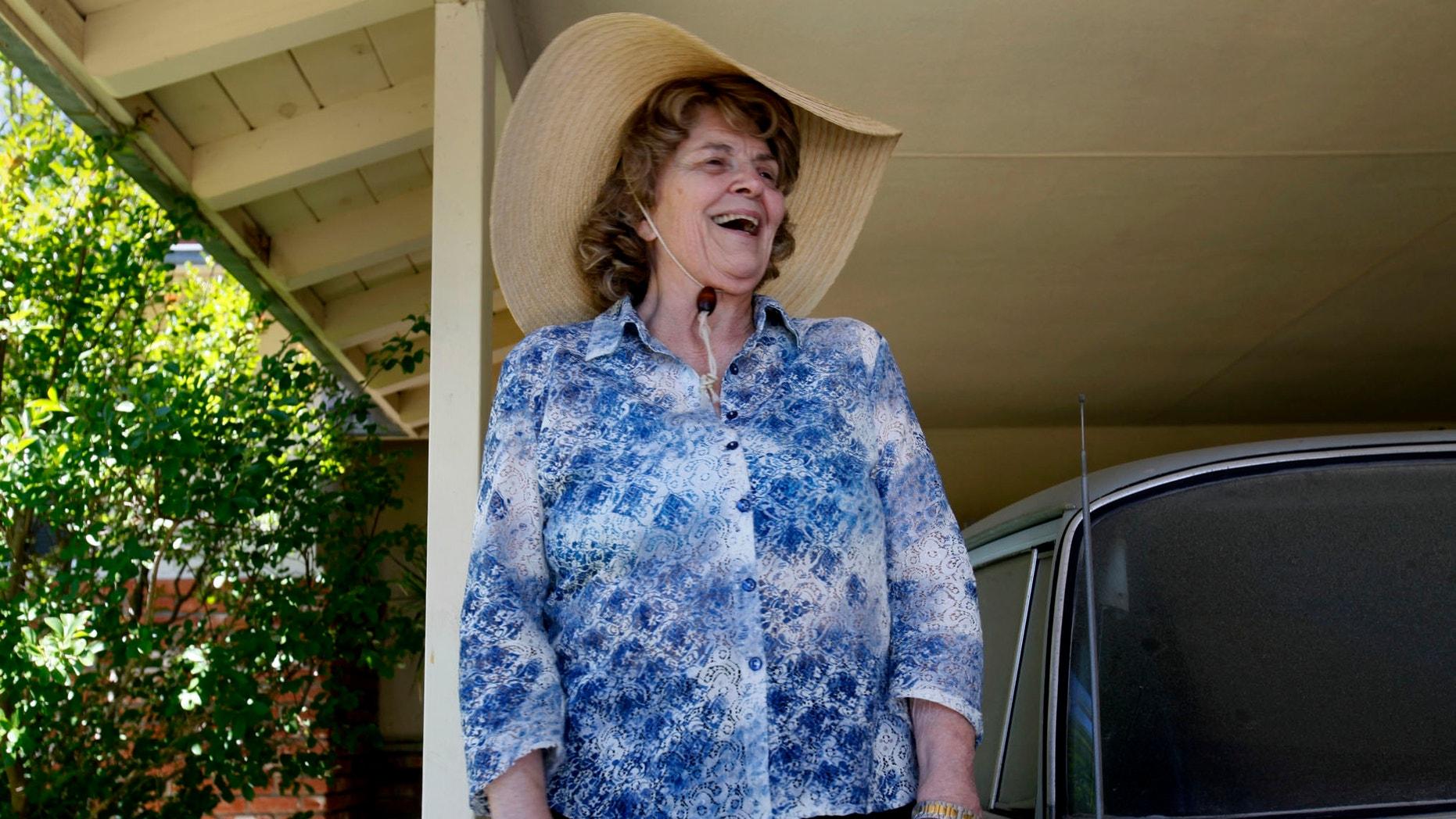 FILE: Sharlotte Hydorn speaks to news media in El Cajon, Calif.
