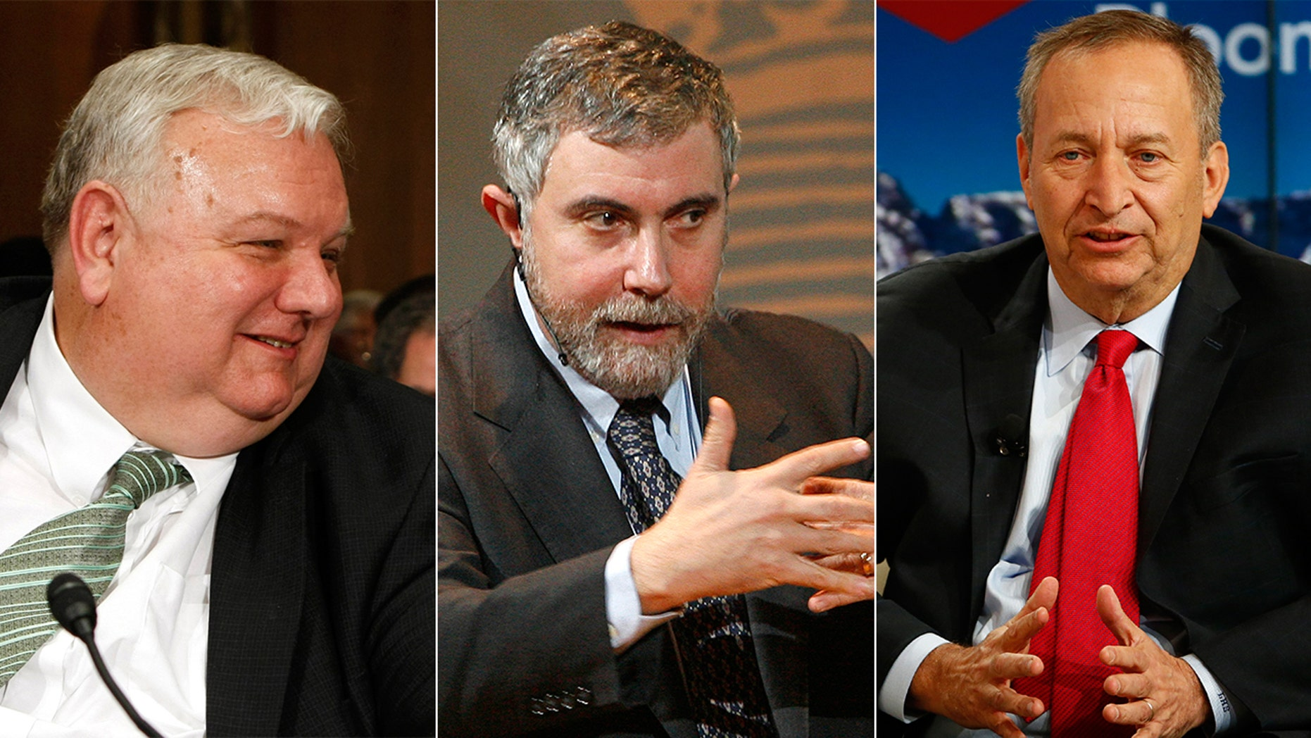 Larry Lindsey (left), the former director of the National Economic Council under George W. Bush, says he's willing to bet $60,000 with liberal economists Paul Krugman (middle) and Larry Summers (right) that their doomsday predictions about President Trump's tax reform proposals will turn out to be wrong.