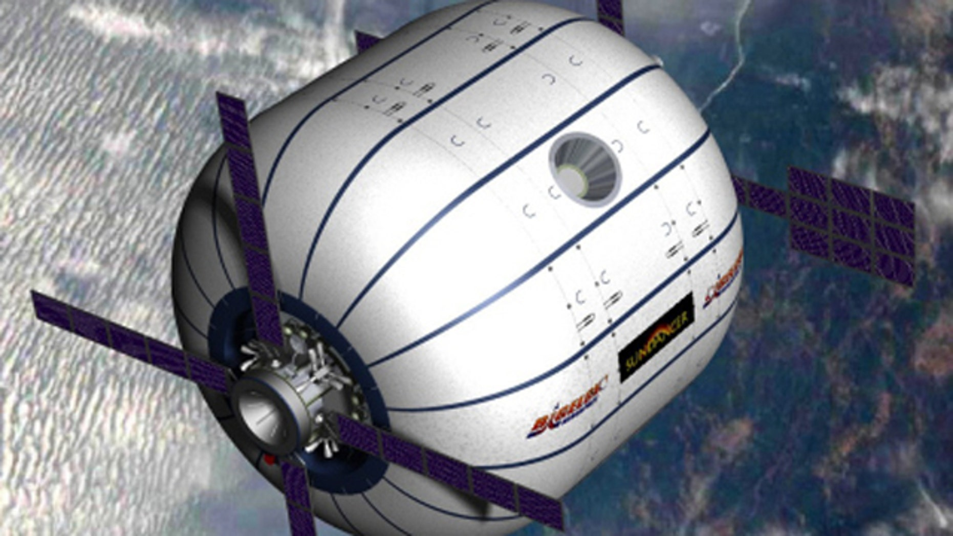 An artists conception of the Sundancer module in orbit, an inflatable space hotel being developed by Bigelow Aerospace.