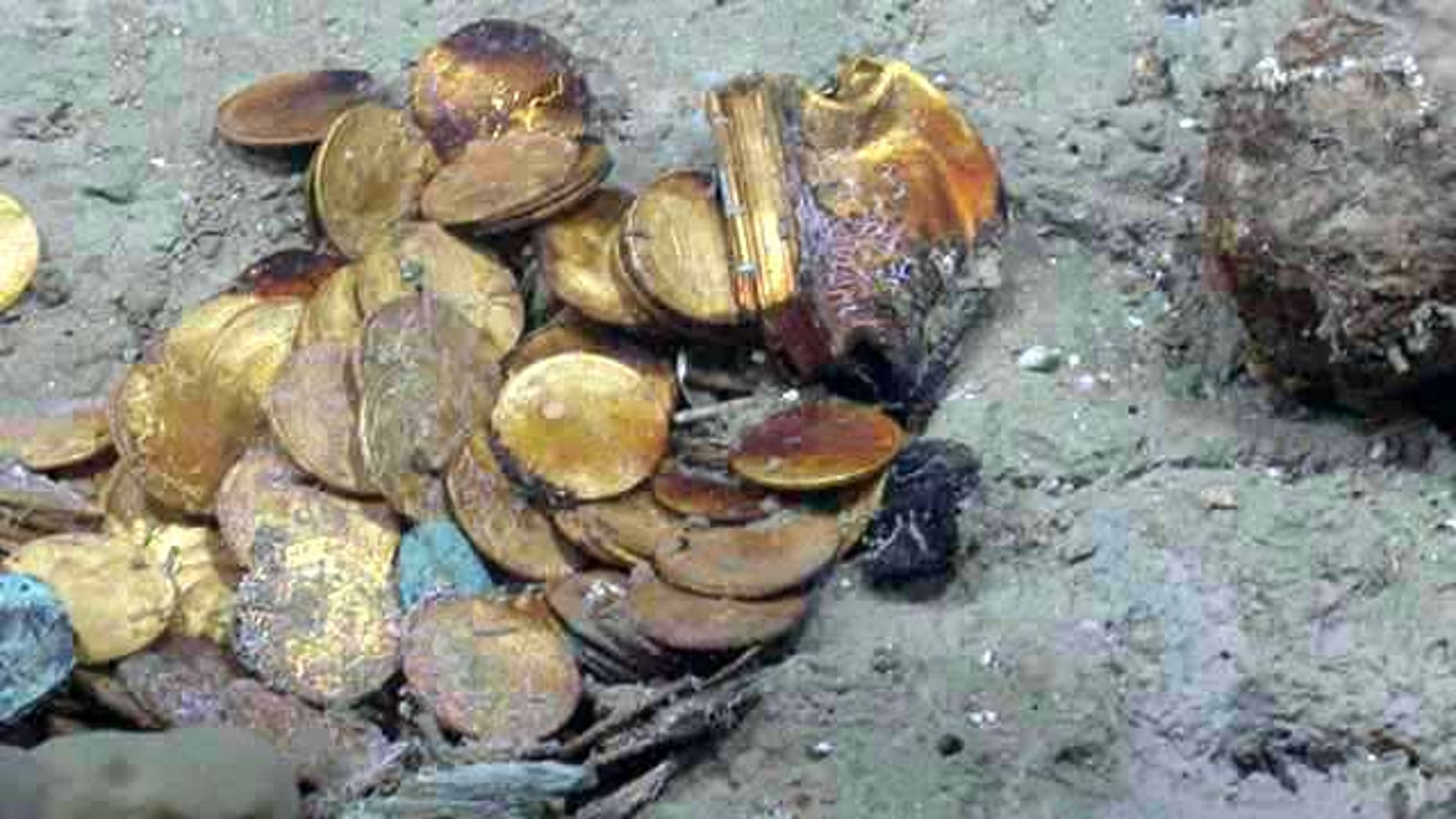 """Gold coins and a gold box lie in situ on the """"Black Swan"""" site. Hundreds of gold coins and more than 500,000 silver coins were discovered on the site."""