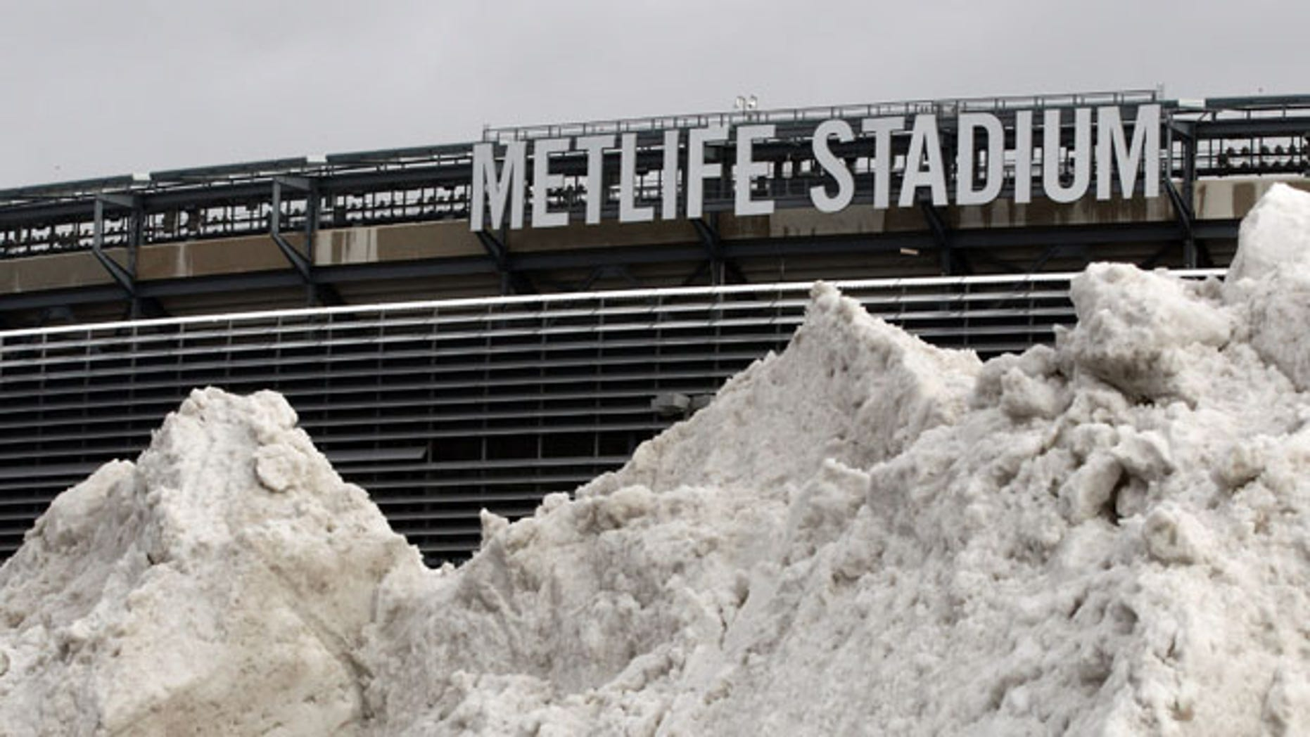 December 15, 2013: A mound of snow is shown outside of MetLife Stadium before an NFL football game between the Seattle Seahawks and the New York Giants, in East Rutherford, N.J. (AP Photo)