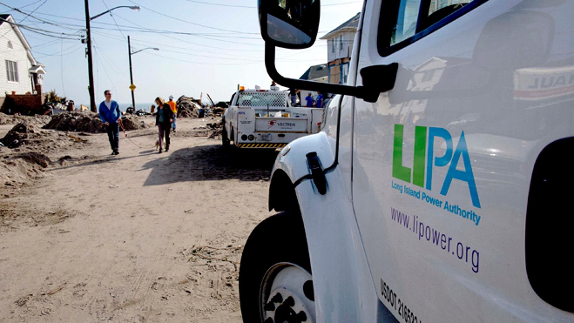 Nov. 12: A Long Island Power Authority (LIPA) truck is seen in the Belle Harbor neighborhood in Queens, New York.