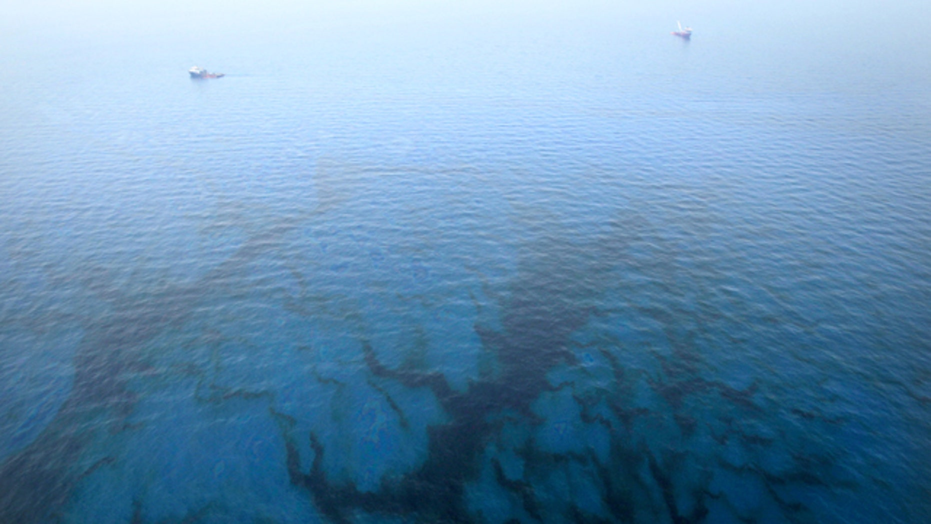 Oil floats in the water near the source of the Deepwater Horizon oil spill in the Gulf of Mexico.