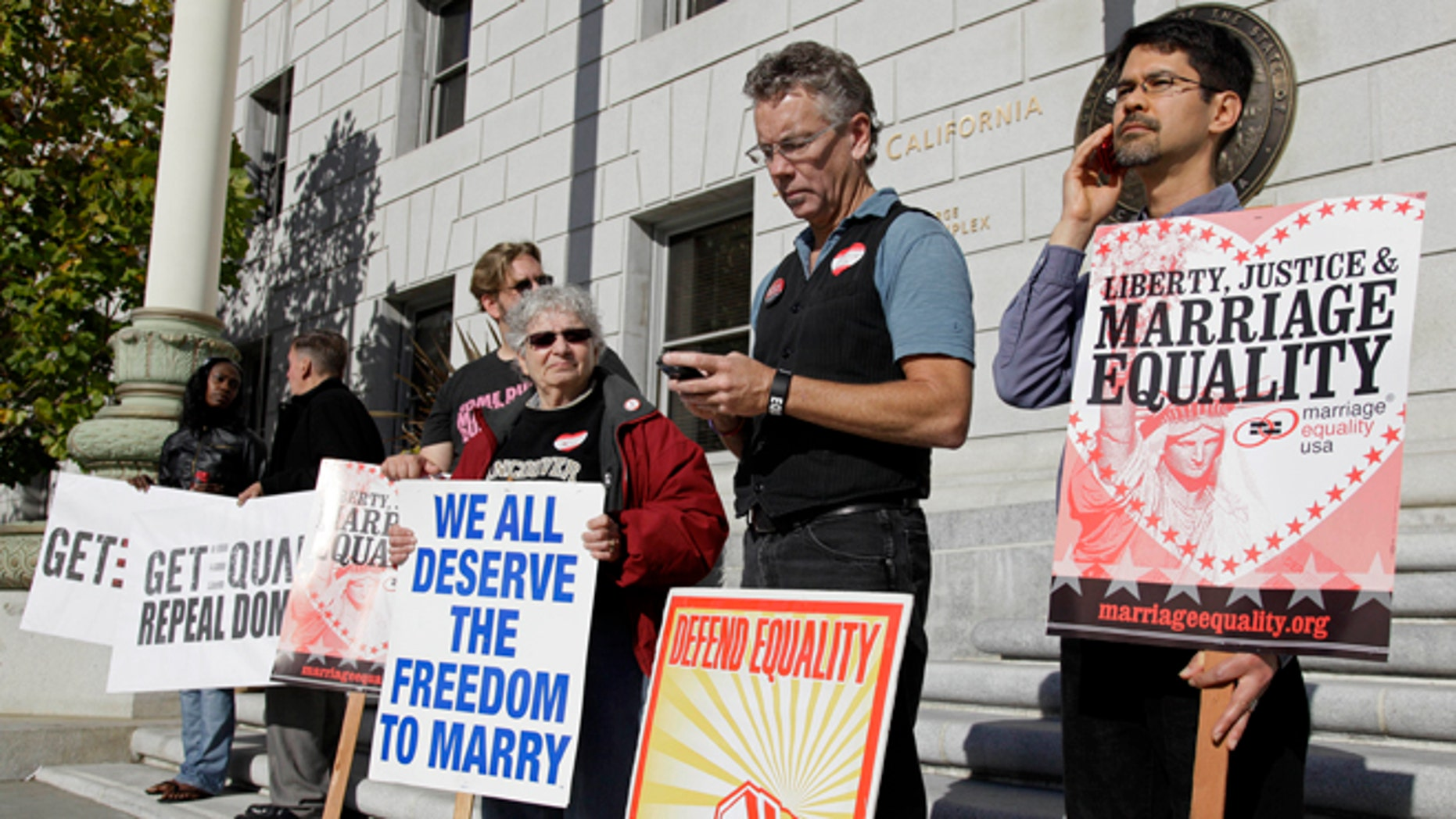Nov. 17, 2011: This file photo shows gay marriage supporters outside the California Supreme Court in San Francisco.