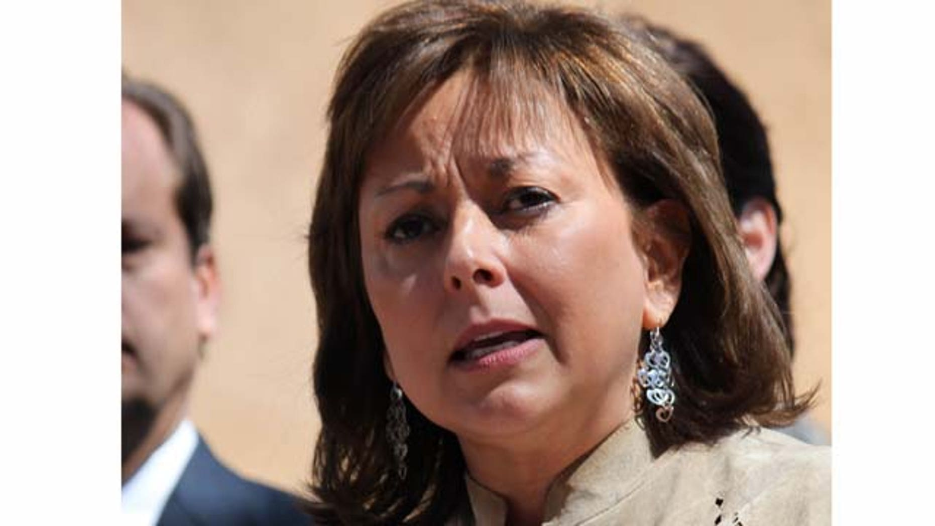FILE - This March 19, 2011 file photo shows Gov. Susana Martinez speaking at a news conference at Wood Gormley Elementary School in Santa Fe, N.M. The governor met with the Hispanic Leadership Network to address reaching Latino voters. (AP Photo/Susan Montoya Bryan, File)