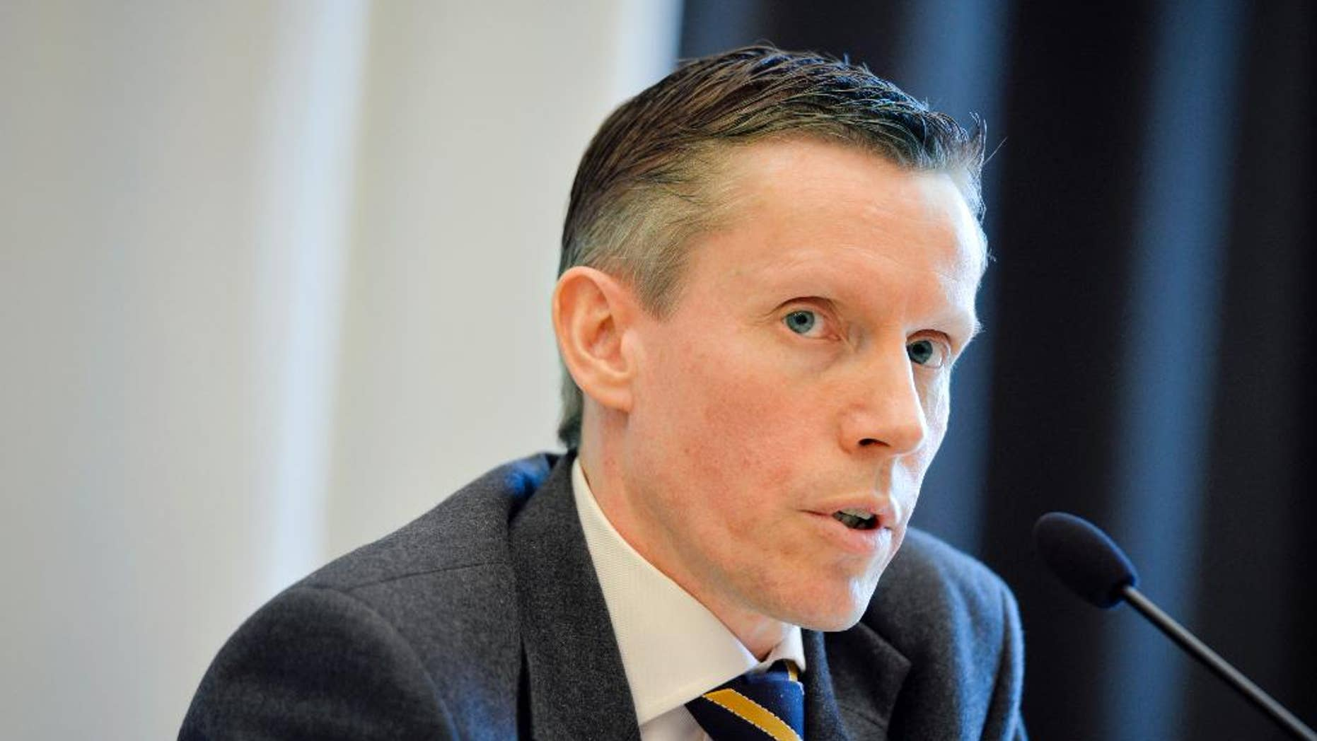 """Wilhelm Unge, chief analyst at Swedish security service SAPO, speaks during a press conference as SAPO released its annual report in Stockholm, Wednesday March 18, 2015. SAPO has accused Russia of conducting """"extensive"""" espionage operations, using as many as one-third of its diplomatic staff in the country for clandestine intelligence gathering. (AP Photo/Henrik Montgomery, TT) SWEDEN OUT"""