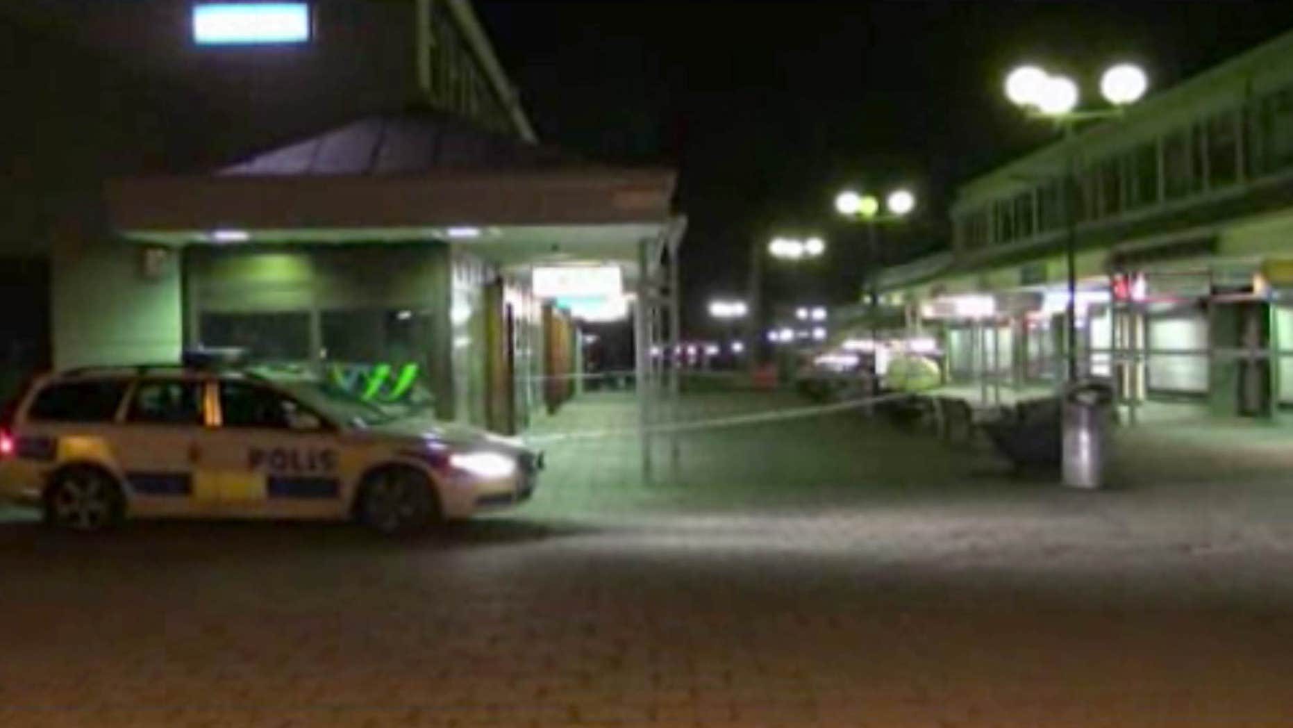March 18, 2015: In this image from Swedish TV4 a police car sits near the Var Krog och Bar in the city of Goteborg.