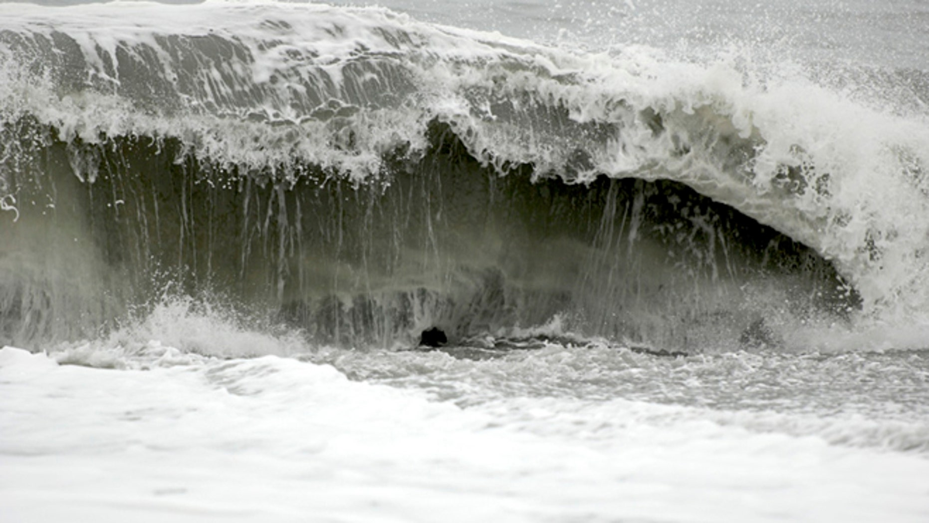 Nov. 26: The surf at Big Lagoon beach creates a moderate undertow near Trinidad, Calif.
